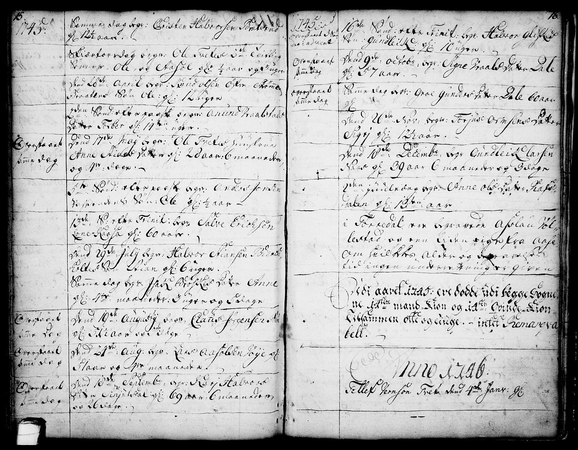 SAKO, Drangedal kirkebøker, F/Fa/L0002: Ministerialbok nr. 2, 1733-1753, s. 15-16