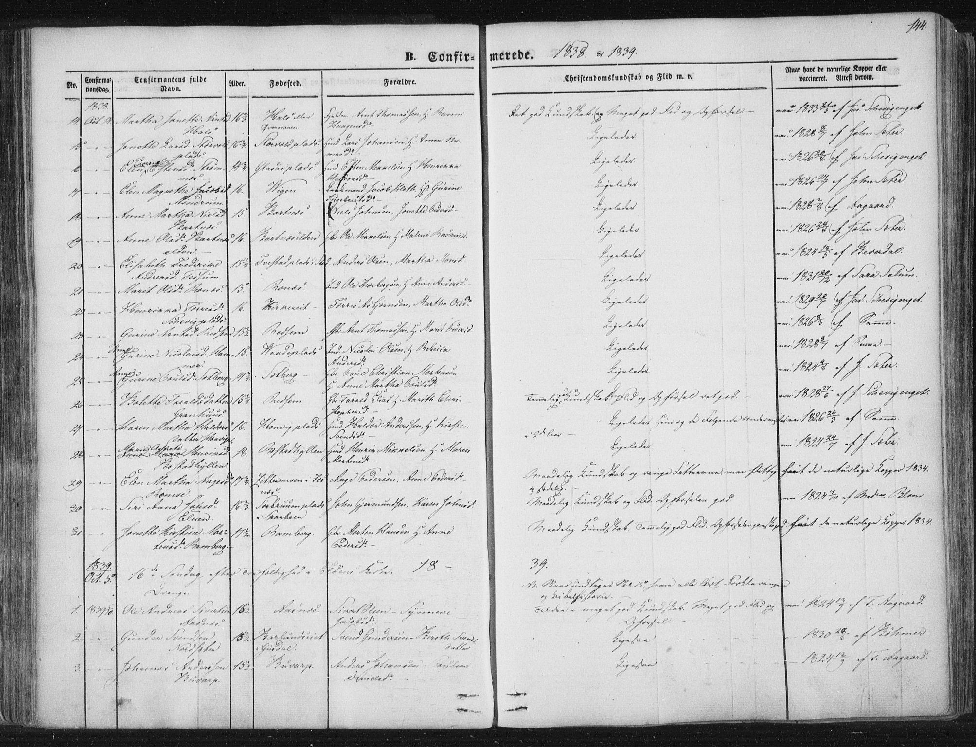 SAT, Ministerialprotokoller, klokkerbøker og fødselsregistre - Nord-Trøndelag, 741/L0392: Ministerialbok nr. 741A06, 1836-1848, s. 144