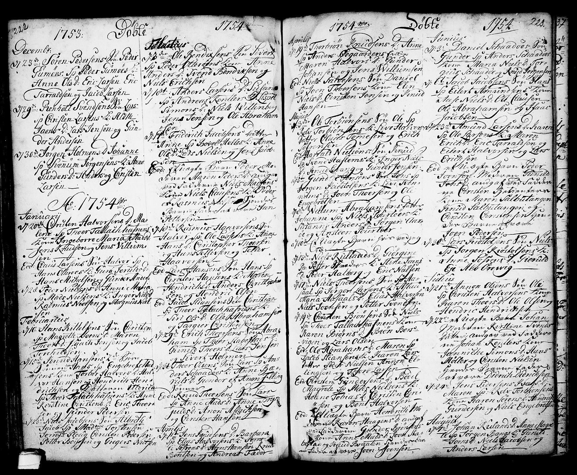 SAKO, Kragerø kirkebøker, F/Fa/L0001: Ministerialbok nr. 1, 1702-1766, s. 222-223