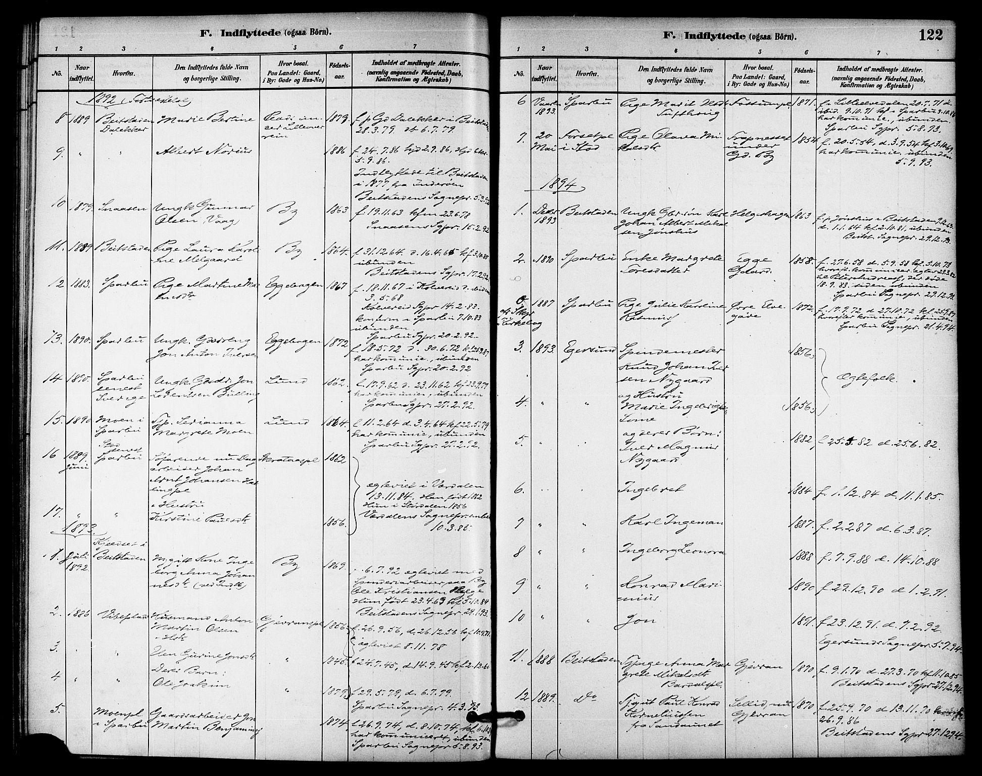 SAT, Ministerialprotokoller, klokkerbøker og fødselsregistre - Nord-Trøndelag, 740/L0378: Ministerialbok nr. 740A01, 1881-1895, s. 122