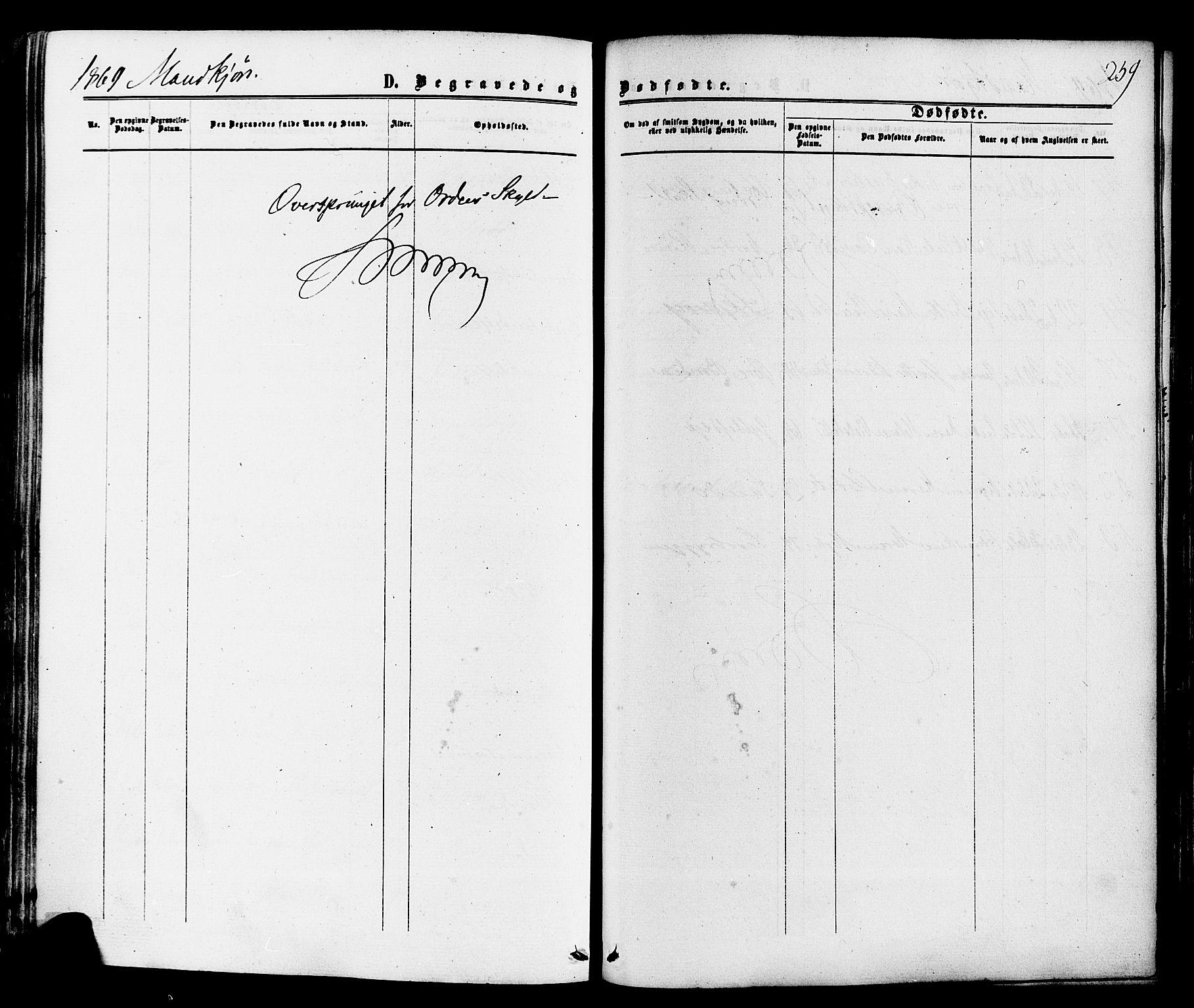 SAKO, Sande Kirkebøker, F/Fa/L0005: Ministerialbok nr. 5, 1865-1877, s. 259