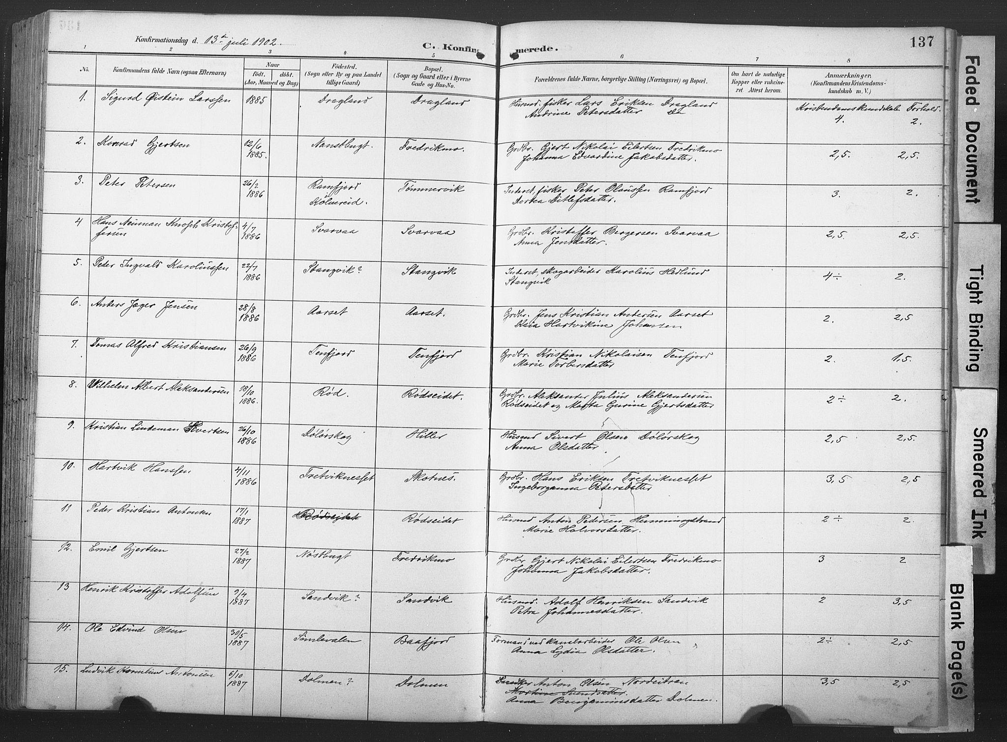 SAT, Ministerialprotokoller, klokkerbøker og fødselsregistre - Nord-Trøndelag, 789/L0706: Klokkerbok nr. 789C01, 1888-1931, s. 137