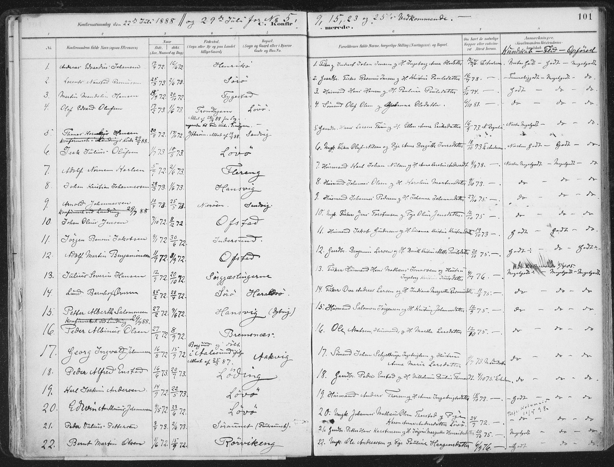 SAT, Ministerialprotokoller, klokkerbøker og fødselsregistre - Nord-Trøndelag, 786/L0687: Ministerialbok nr. 786A03, 1888-1898, s. 101