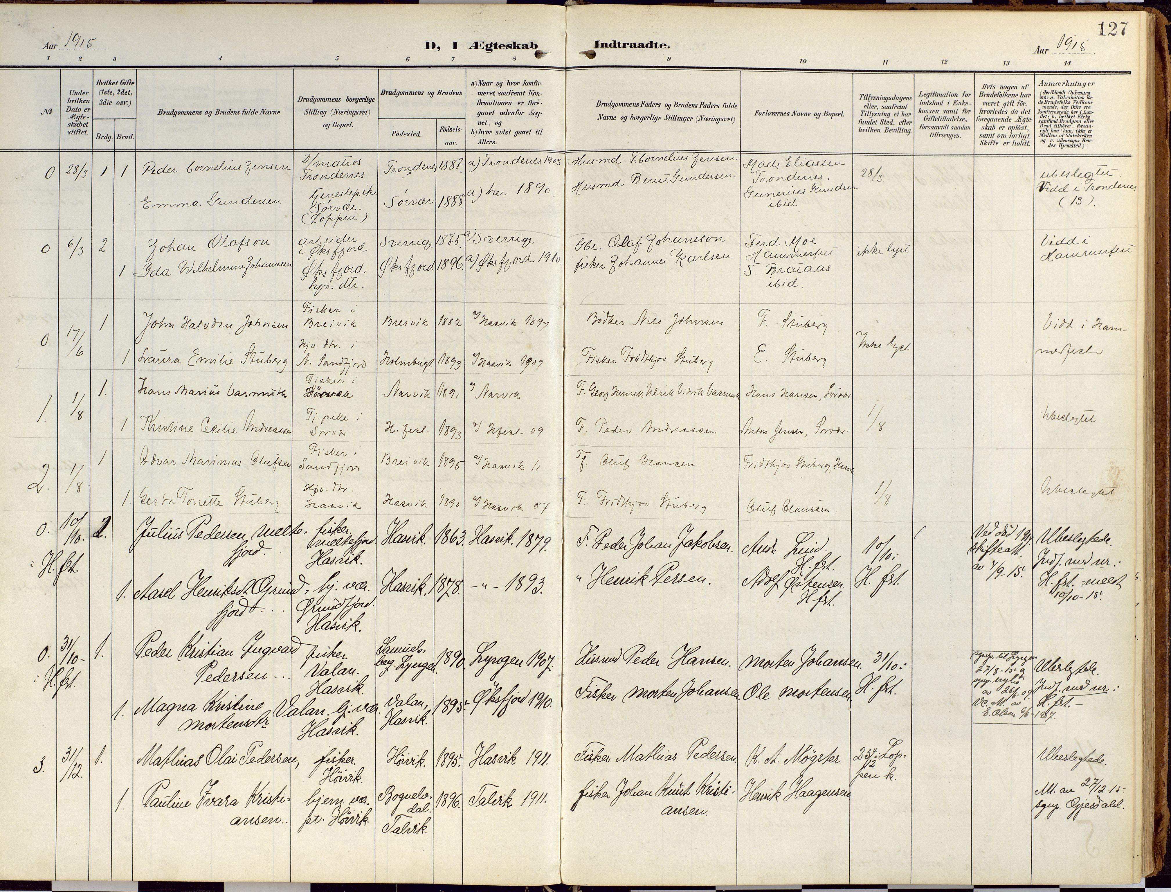 SATØ, Loppa sokneprestkontor, H/Ha/L0010kirke: Ministerialbok nr. 10, 1907-1922, s. 127