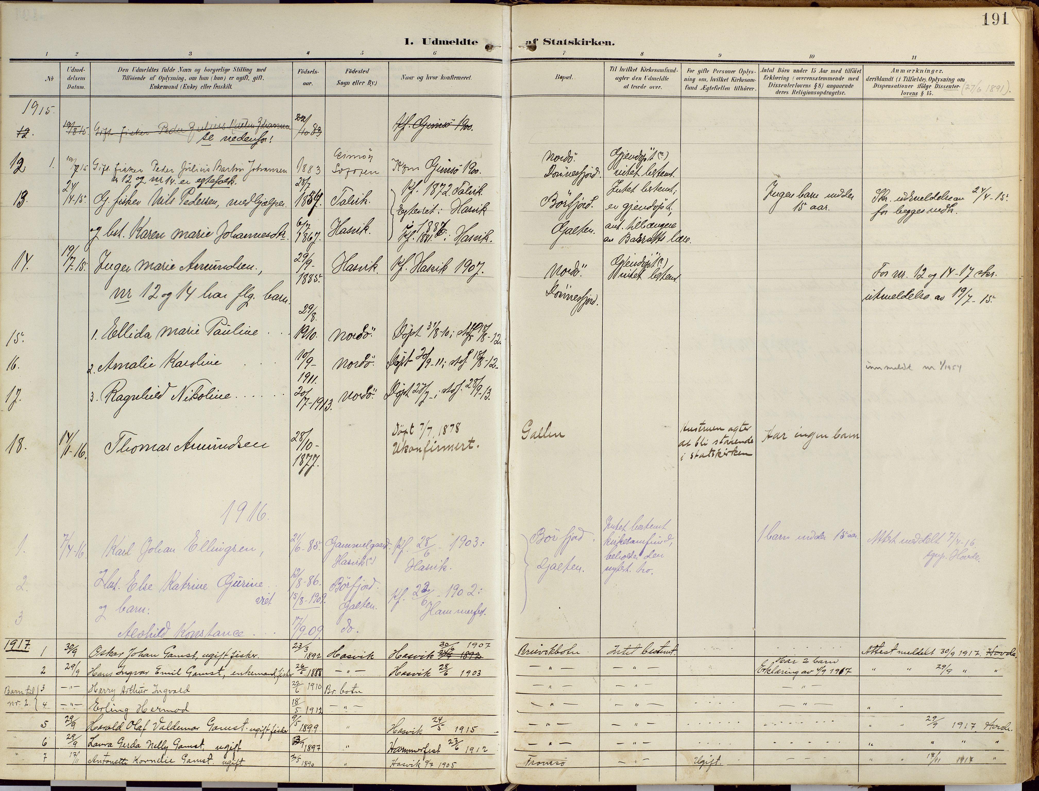 SATØ, Loppa sokneprestkontor, H/Ha/L0010kirke: Ministerialbok nr. 10, 1907-1922, s. 191