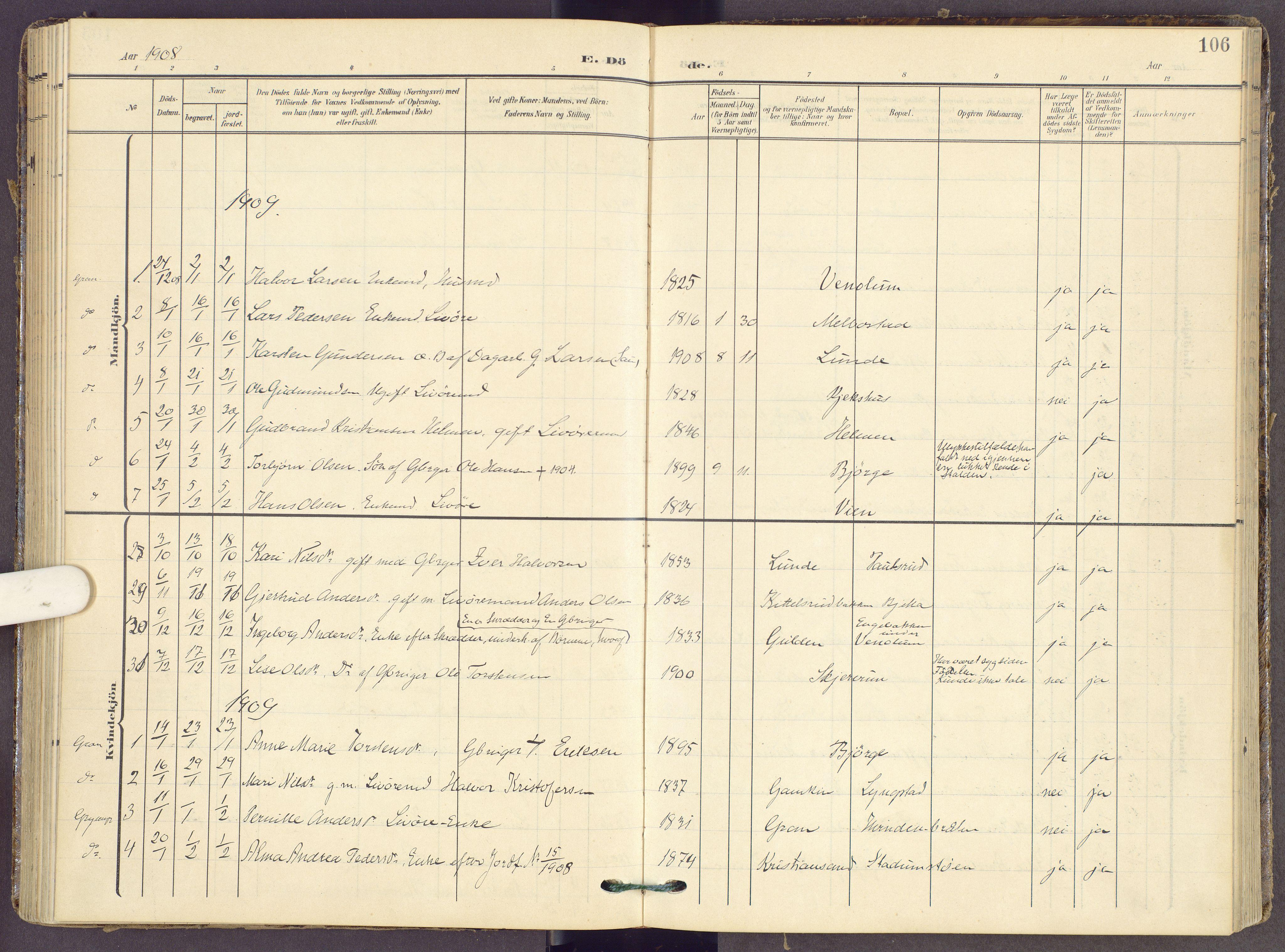 SAH, Gran prestekontor, Ministerialbok nr. 22, 1908-1918, s. 106