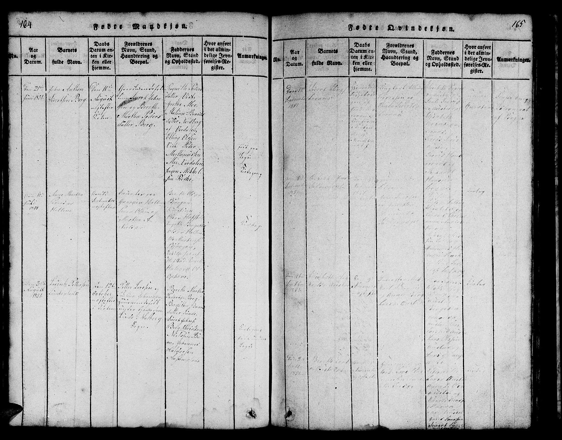 SAT, Ministerialprotokoller, klokkerbøker og fødselsregistre - Nord-Trøndelag, 731/L0310: Klokkerbok nr. 731C01, 1816-1874, s. 164-165