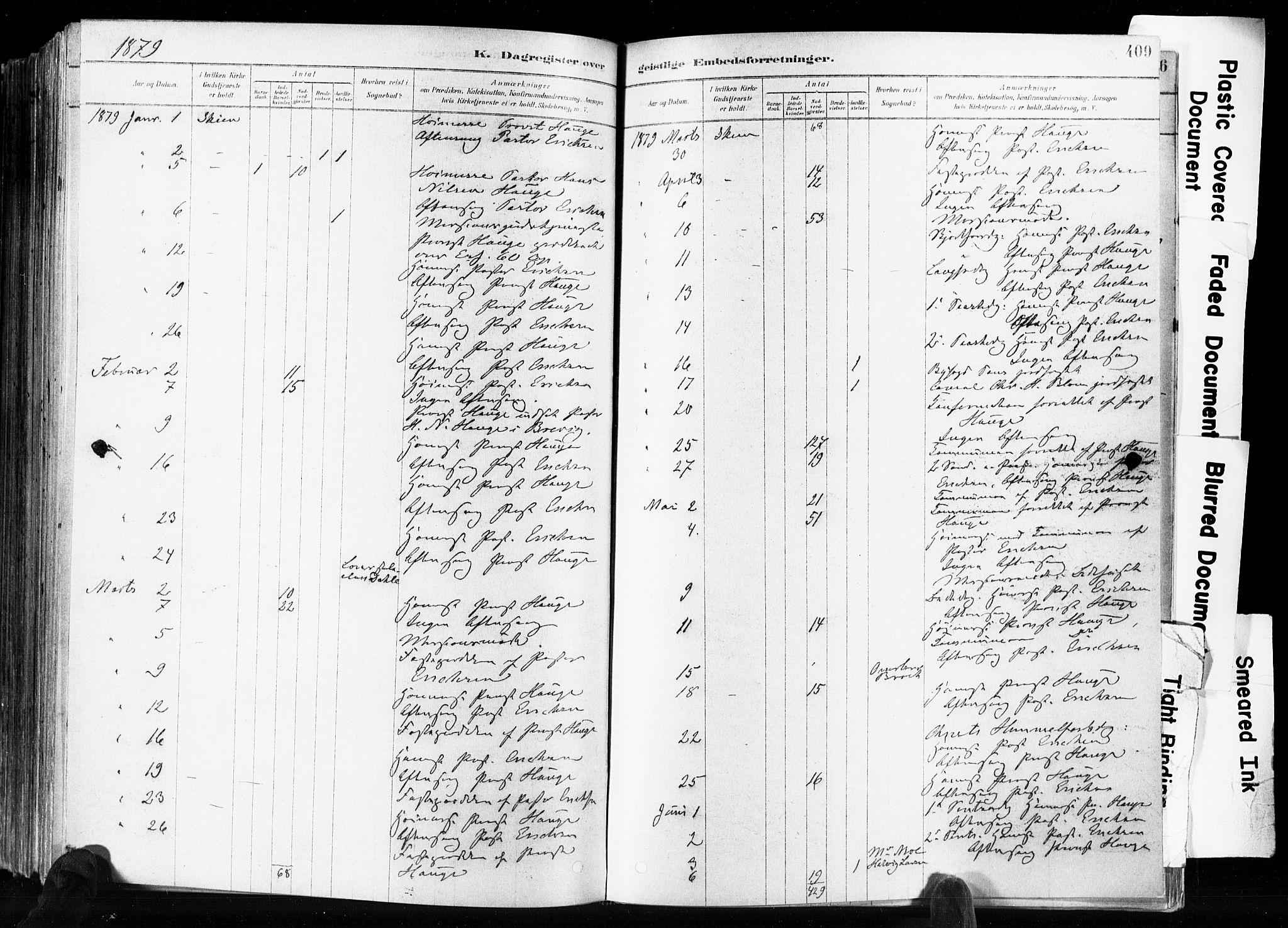 SAKO, Skien kirkebøker, F/Fa/L0009: Ministerialbok nr. 9, 1878-1890, s. 409