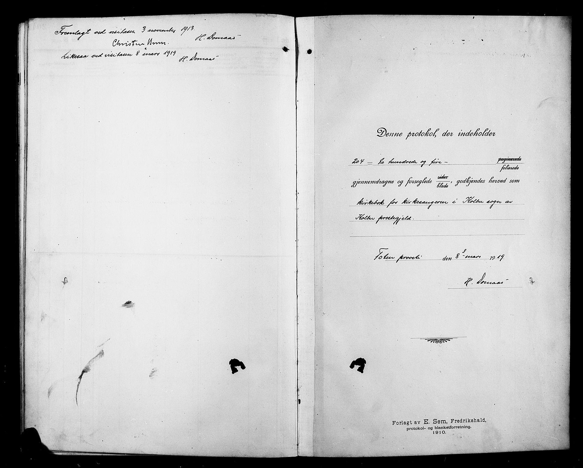 SAH, Kolbu prestekontor, Klokkerbok nr. 1, 1912-1925
