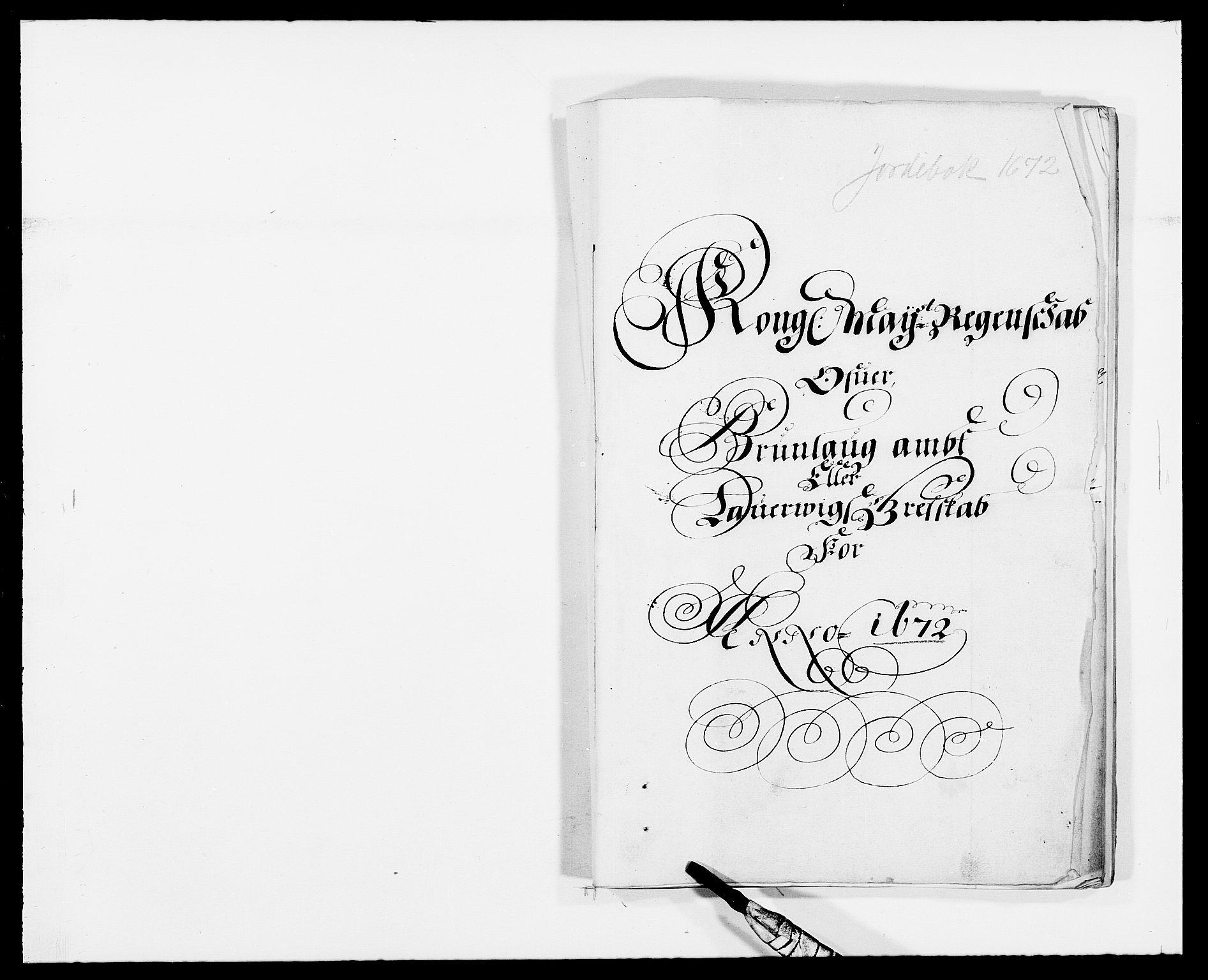 RA, Rentekammeret inntil 1814, Reviderte regnskaper, Fogderegnskap, R33/L1966: Fogderegnskap Larvik grevskap, 1672-1674, s. 1