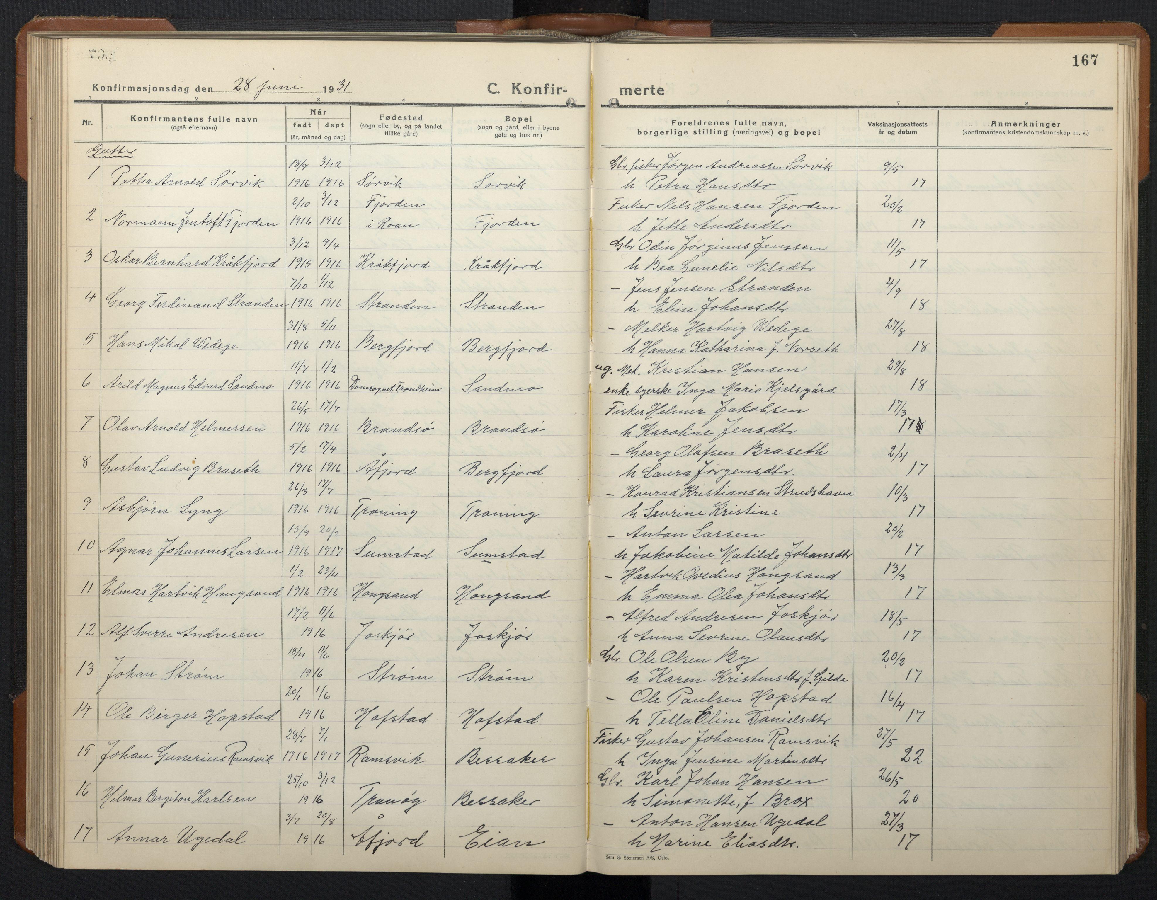 SAT, Ministerialprotokoller, klokkerbøker og fødselsregistre - Sør-Trøndelag, 657/L0718: Klokkerbok nr. 657C05, 1923-1948, s. 167