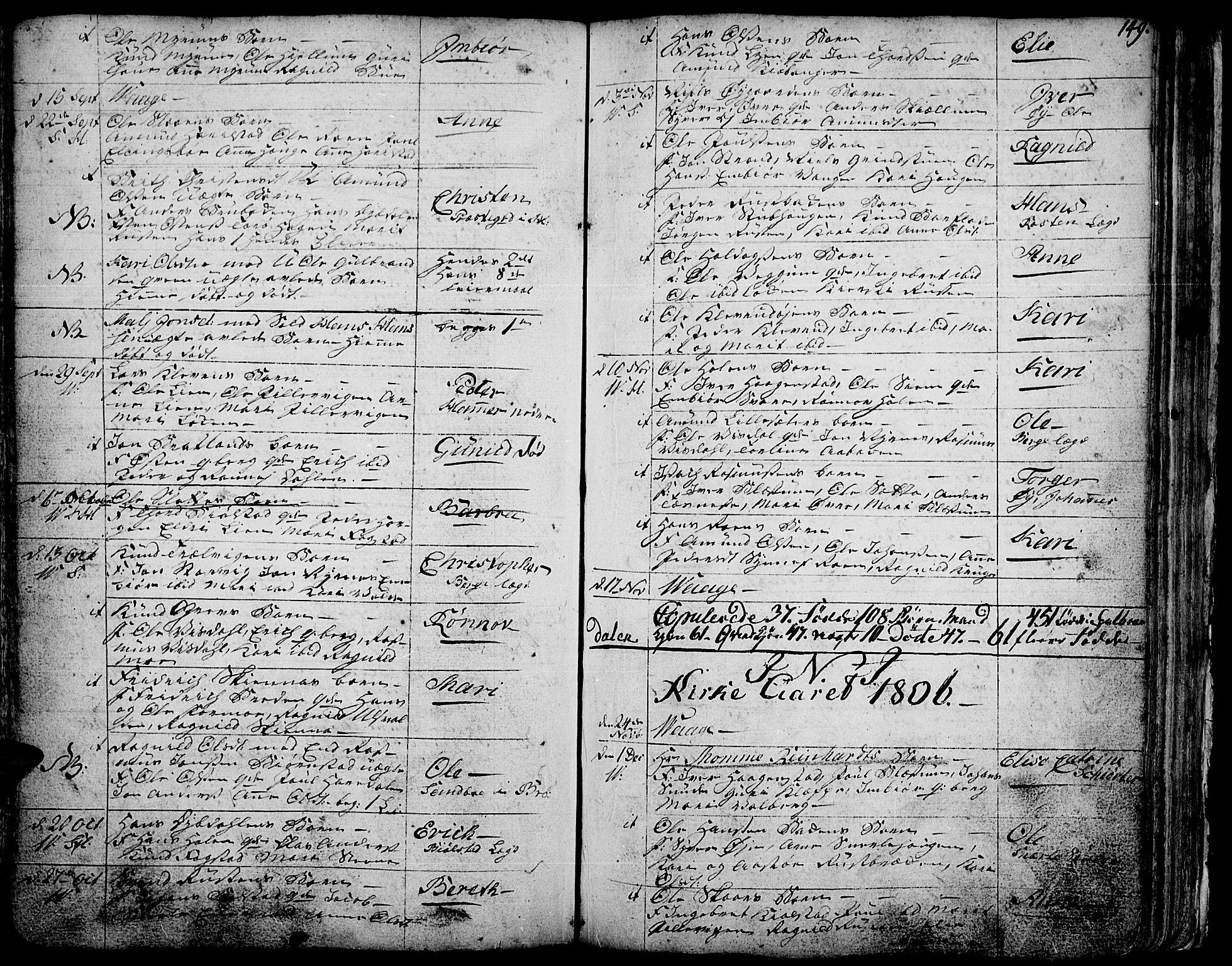 SAH, Vågå prestekontor, Ministerialbok nr. 1, 1739-1810, s. 149