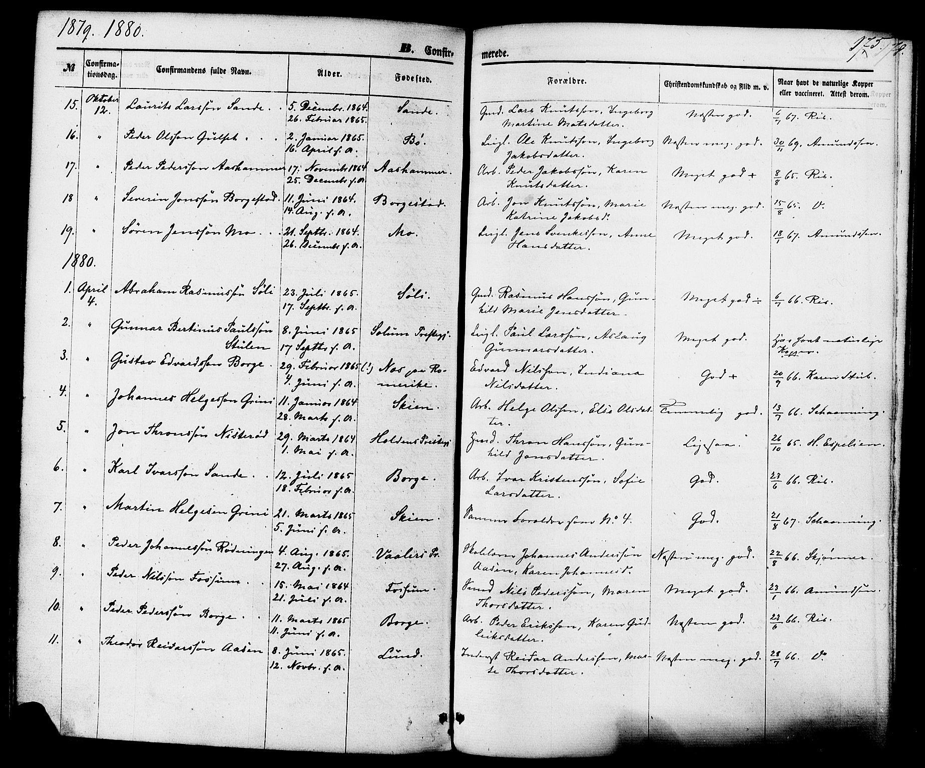 SAKO, Gjerpen kirkebøker, F/Fa/L0009: Ministerialbok nr. 9, 1872-1885, s. 175