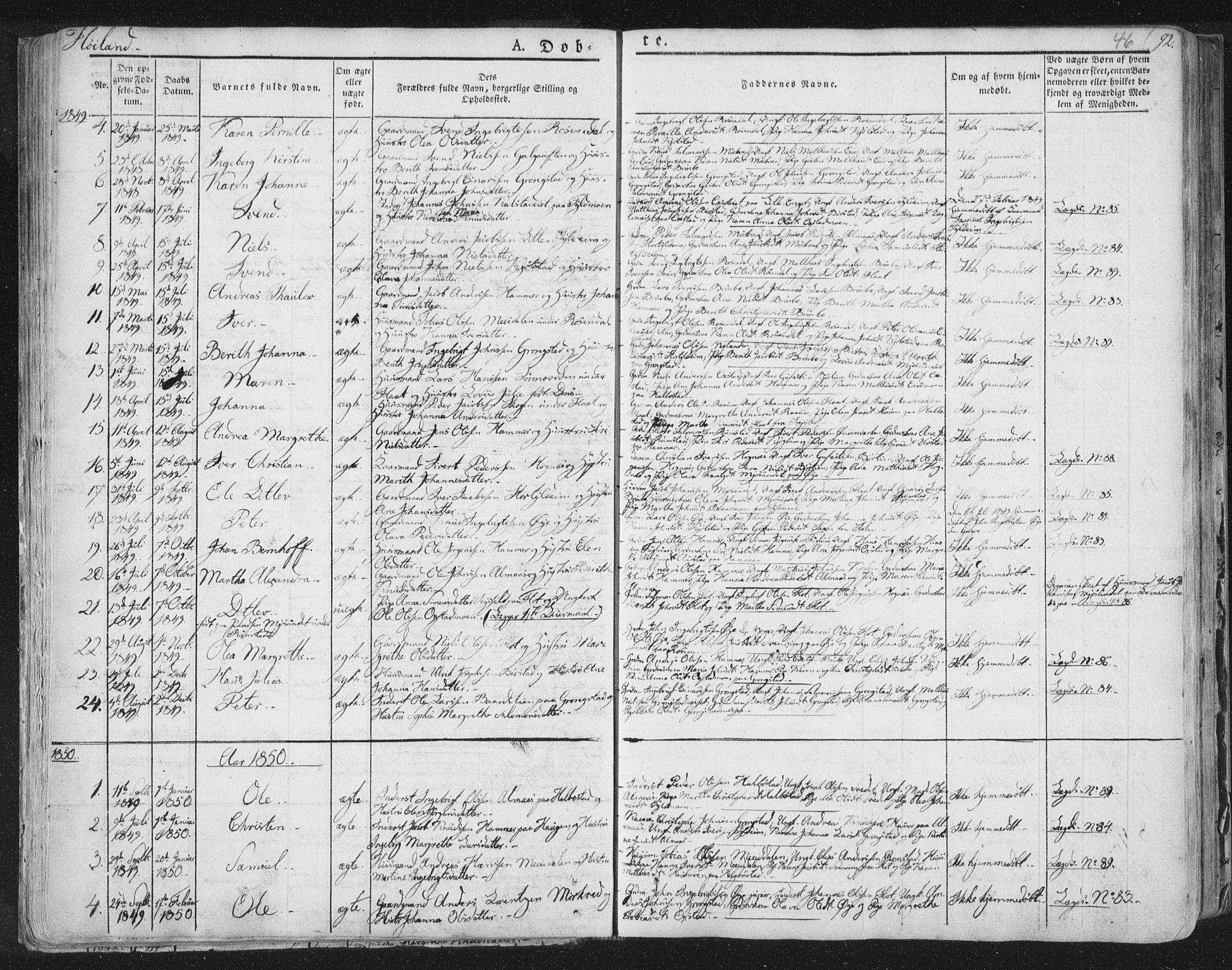 SAT, Ministerialprotokoller, klokkerbøker og fødselsregistre - Nord-Trøndelag, 758/L0513: Ministerialbok nr. 758A02 /2, 1839-1868, s. 46