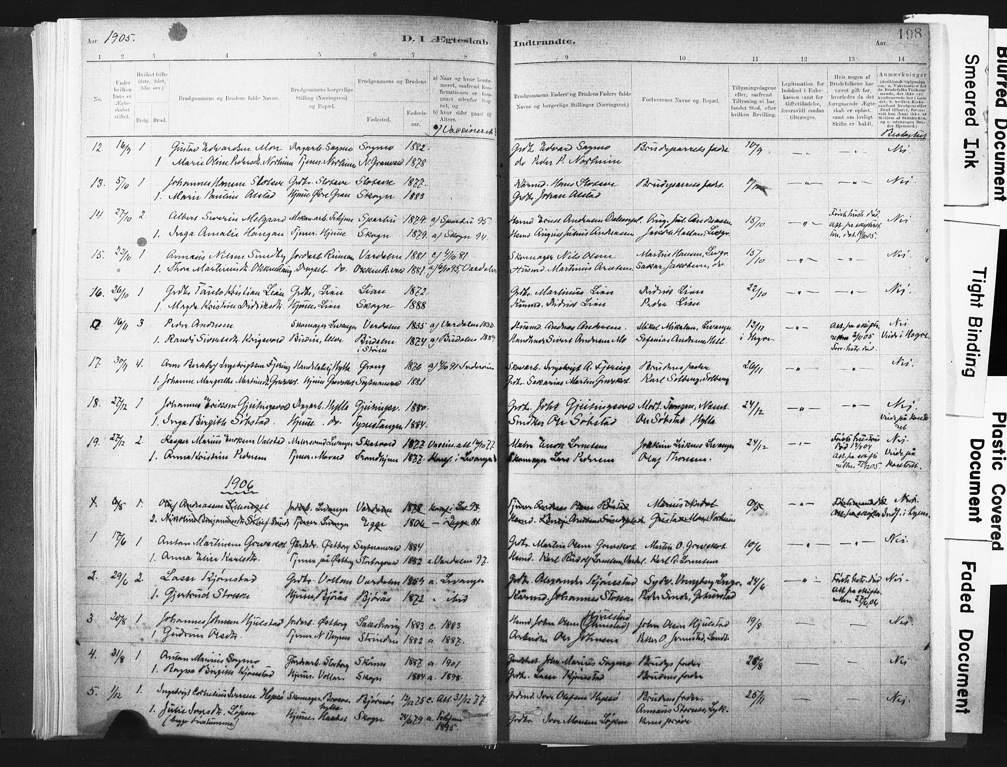 SAT, Ministerialprotokoller, klokkerbøker og fødselsregistre - Nord-Trøndelag, 721/L0207: Ministerialbok nr. 721A02, 1880-1911, s. 198