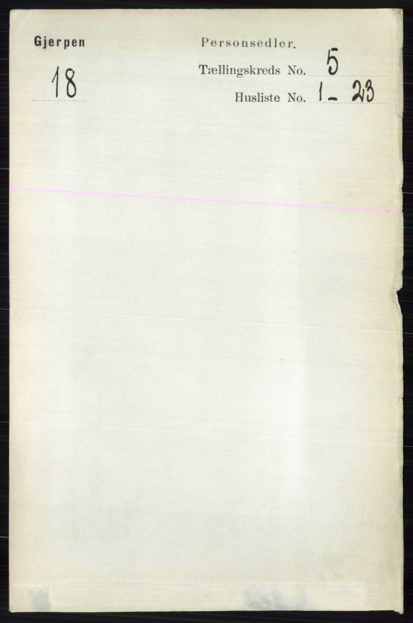 RA, Folketelling 1891 for 0812 Gjerpen herred, 1891, s. 2492