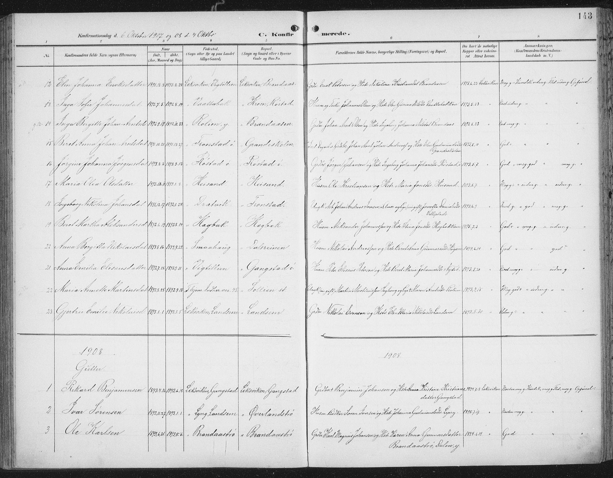 SAT, Ministerialprotokoller, klokkerbøker og fødselsregistre - Nord-Trøndelag, 701/L0011: Ministerialbok nr. 701A11, 1899-1915, s. 143