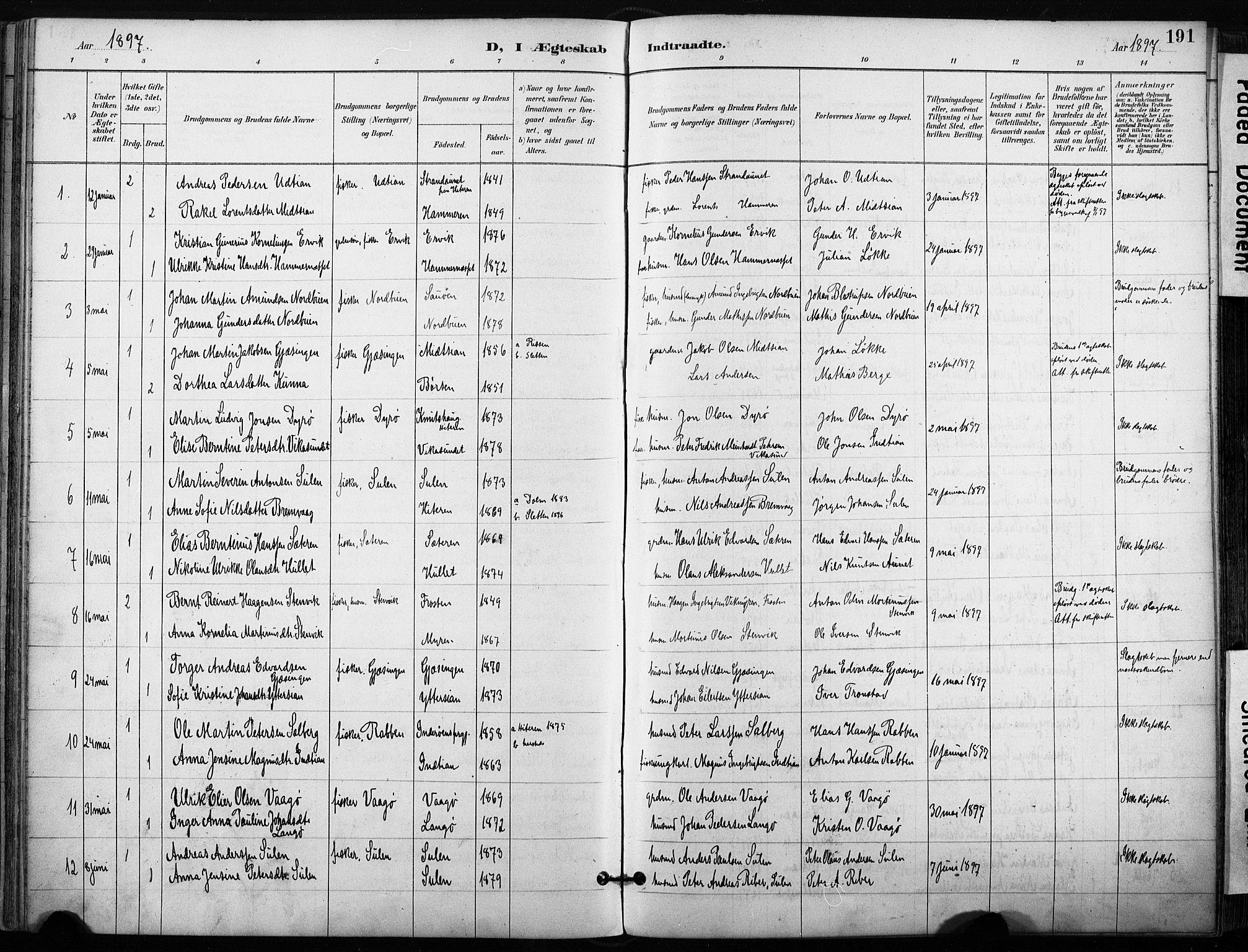 SAT, Ministerialprotokoller, klokkerbøker og fødselsregistre - Sør-Trøndelag, 640/L0579: Ministerialbok nr. 640A04, 1889-1902, s. 191