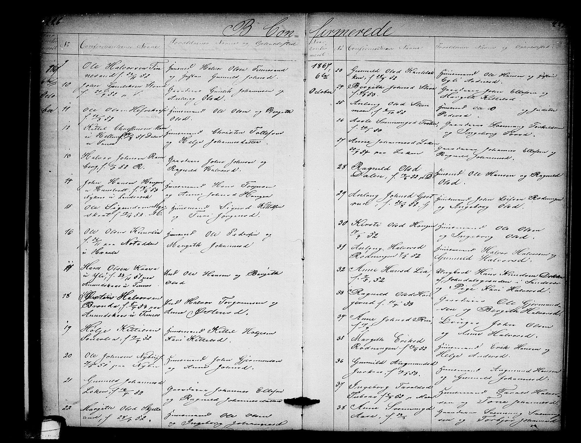 SAKO, Heddal kirkebøker, G/Ga/L0001: Klokkerbok nr. I 1, 1866-1878, s. 226-227