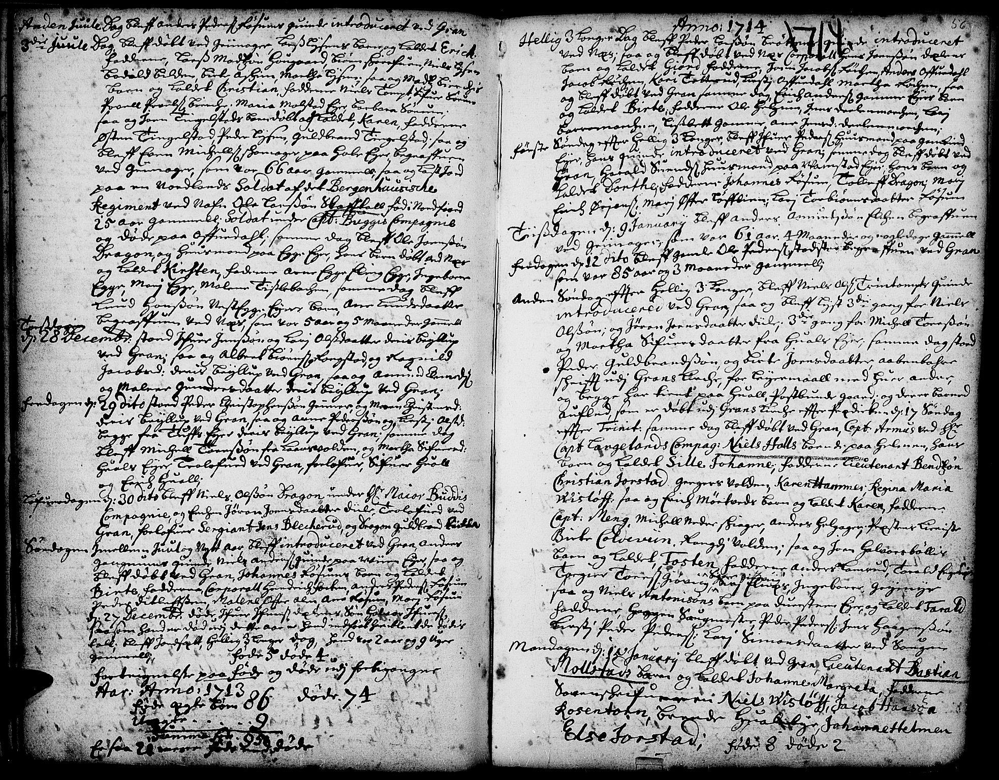 SAH, Gran prestekontor, Ministerialbok nr. 1, 1707-1731, s. 56