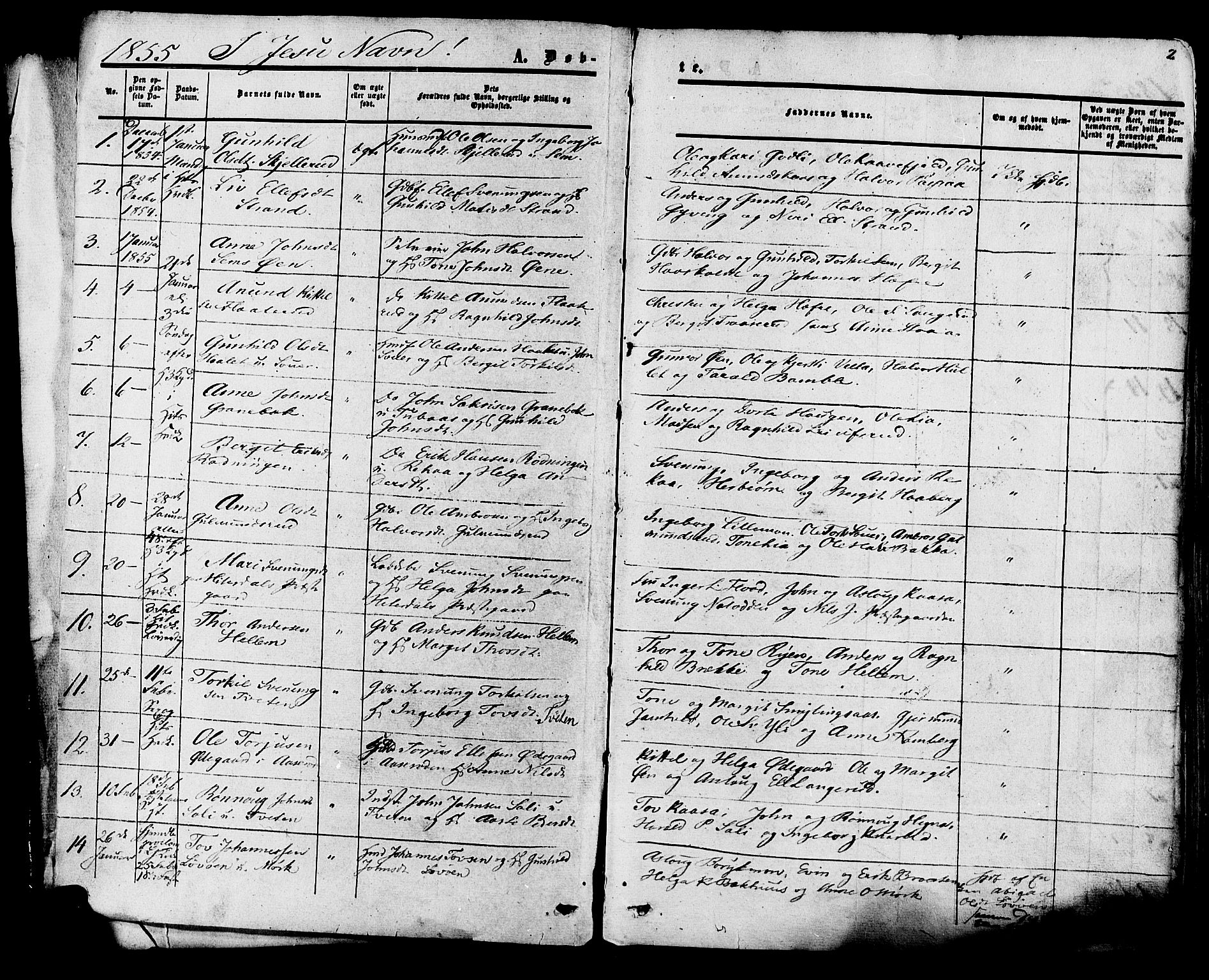 SAKO, Heddal kirkebøker, F/Fa/L0007: Ministerialbok nr. I 7, 1855-1877, s. 2