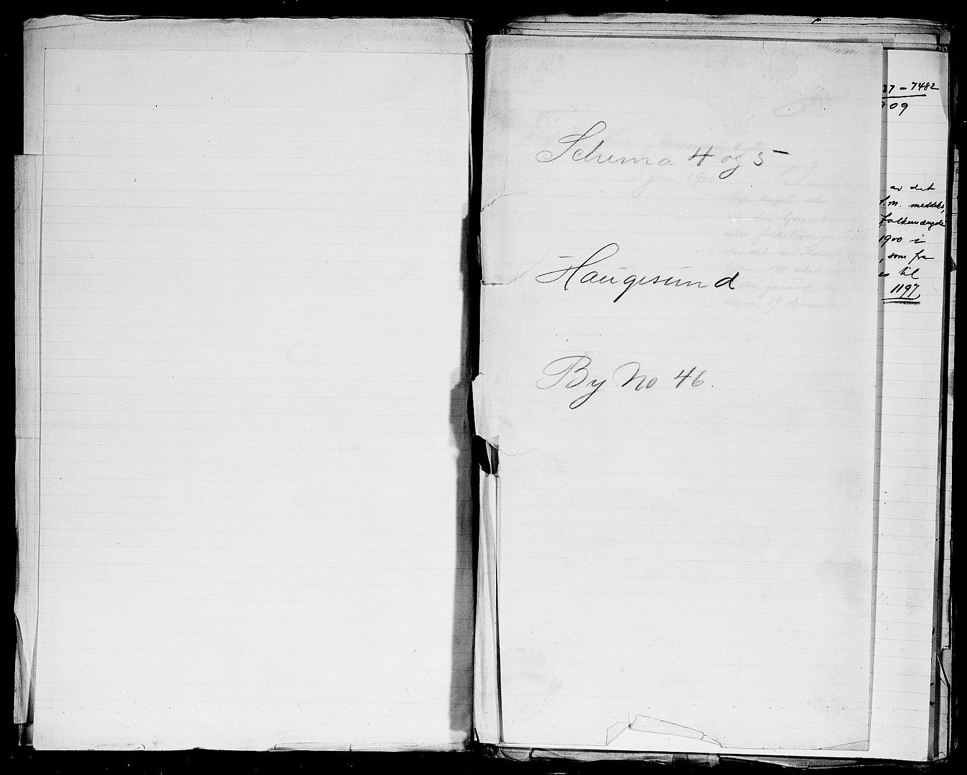 SAST, Folketelling 1900 for 1106 Haugesund kjøpstad, 1900, s. 1
