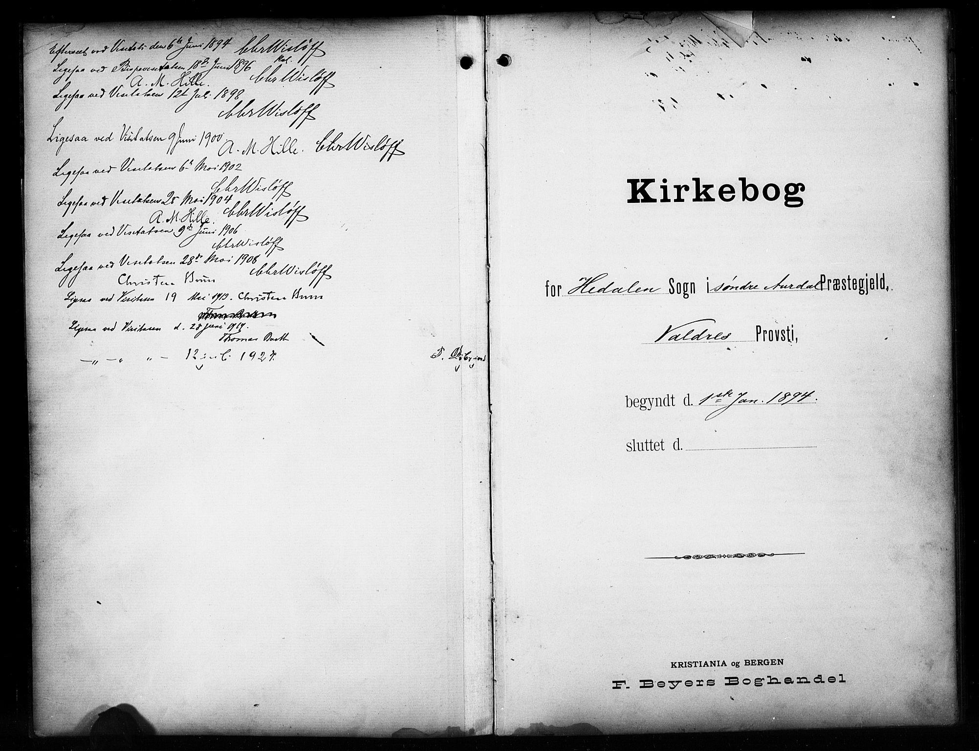 SAH, Sør-Aurdal prestekontor, Klokkerbok nr. 17, 1894-1923