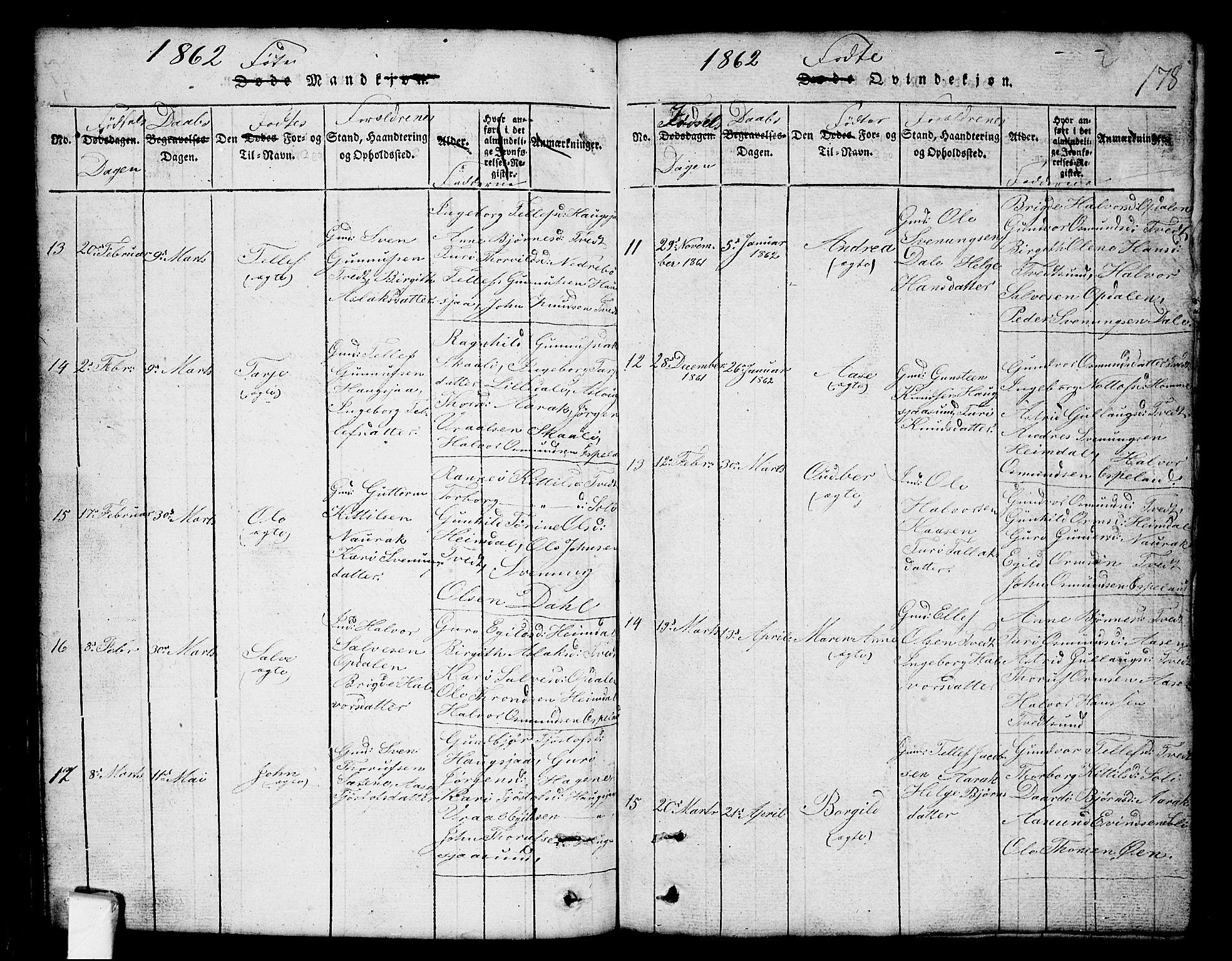 SAKO, Nissedal kirkebøker, G/Gb/L0001: Klokkerbok nr. II 1, 1814-1862, s. 178