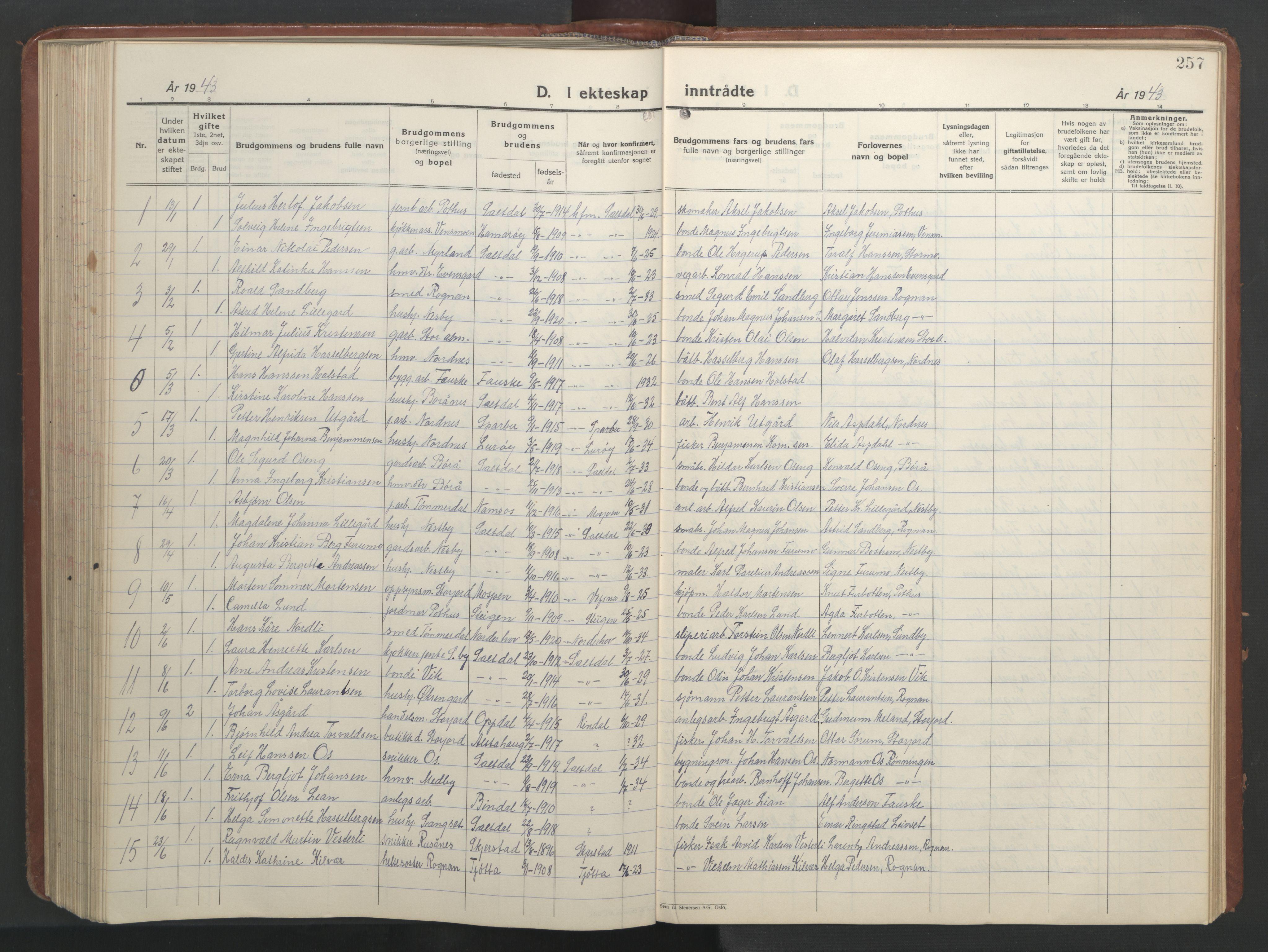 SAT, Ministerialprotokoller, klokkerbøker og fødselsregistre - Nordland, 847/L0680: Klokkerbok nr. 847C08, 1930-1947, s. 257