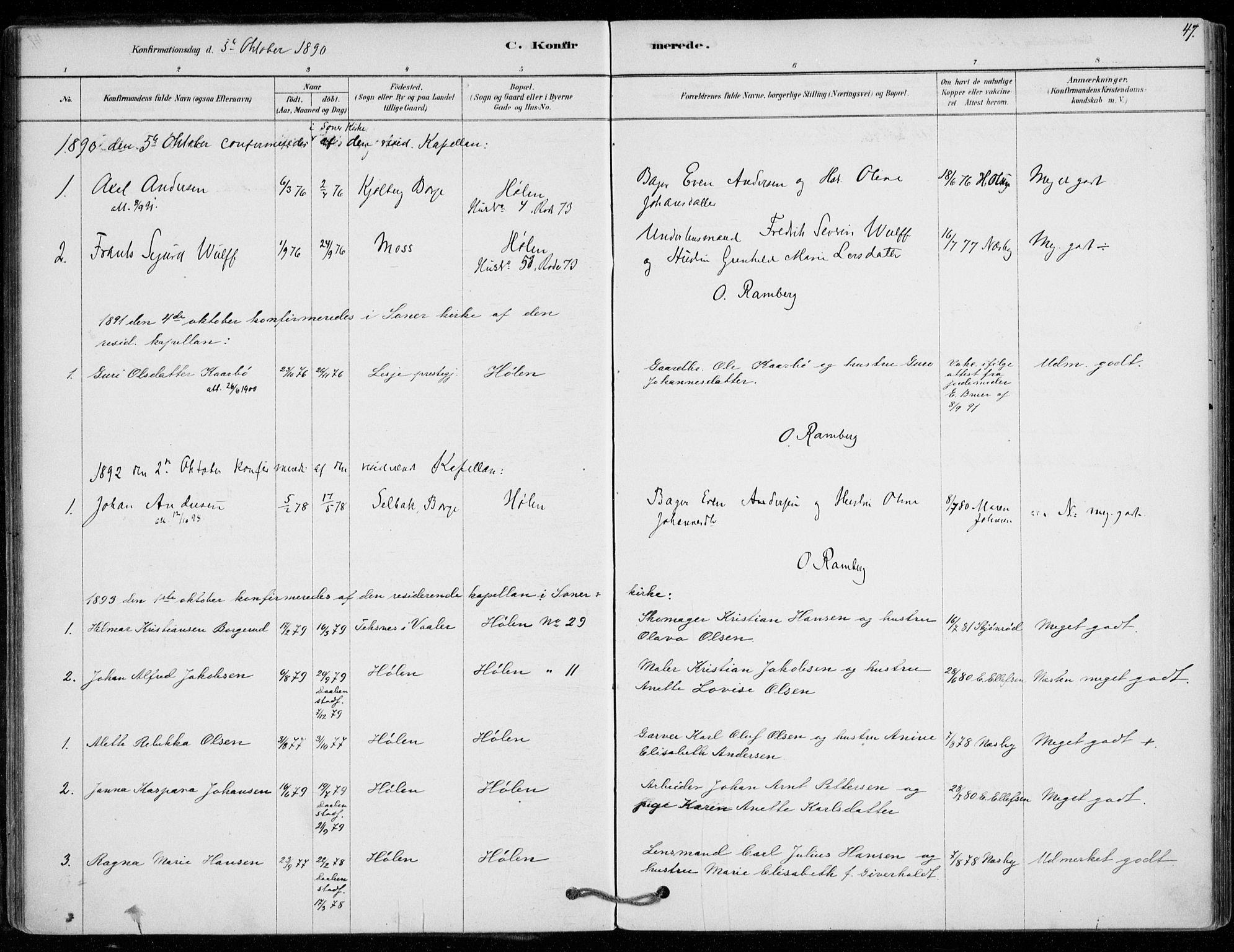 SAO, Vestby prestekontor Kirkebøker, F/Fe/L0001: Ministerialbok nr. V 1, 1878-1931, s. 47