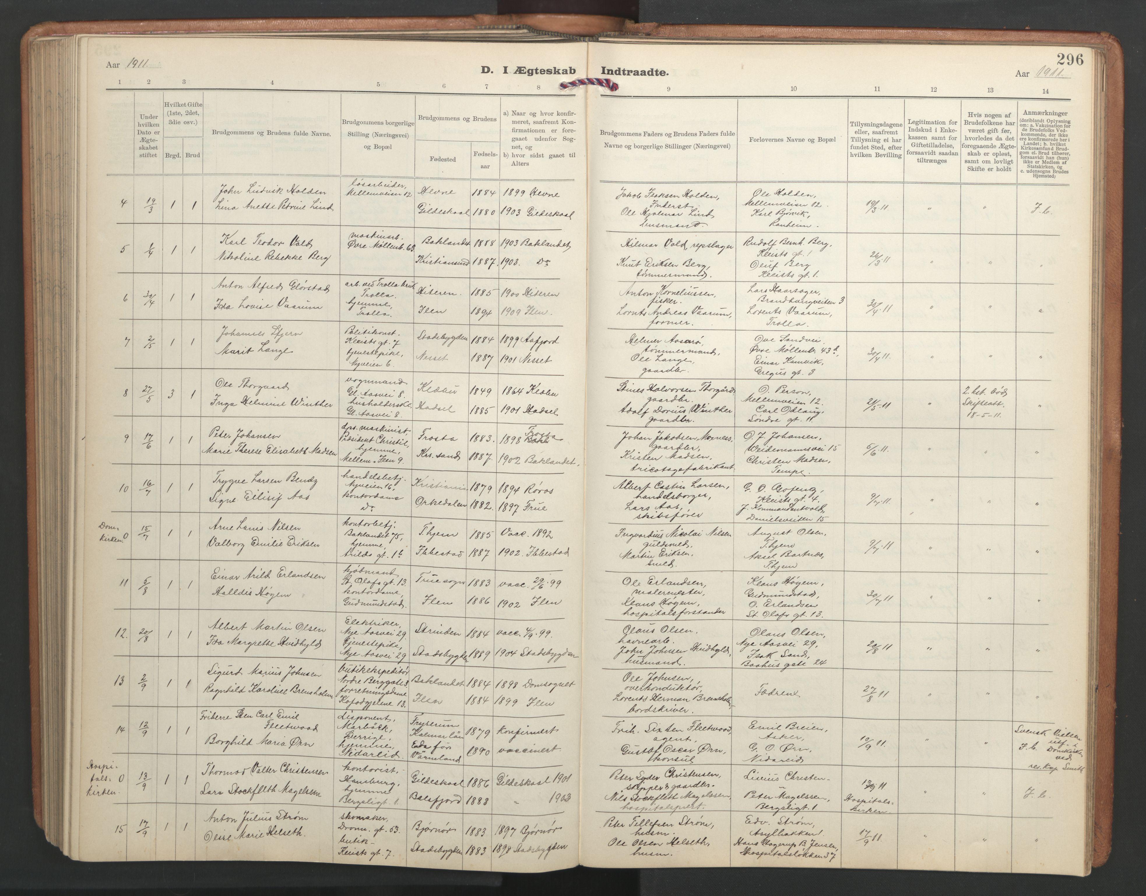 SAT, Ministerialprotokoller, klokkerbøker og fødselsregistre - Sør-Trøndelag, 603/L0173: Klokkerbok nr. 603C01, 1907-1962, s. 296