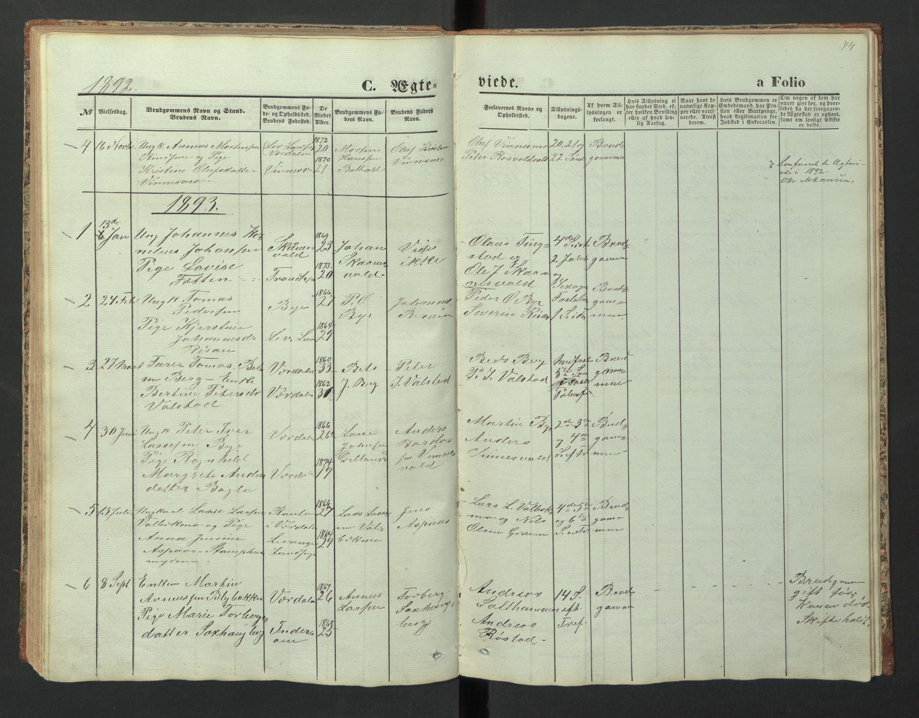 SAT, Ministerialprotokoller, klokkerbøker og fødselsregistre - Nord-Trøndelag, 726/L0271: Klokkerbok nr. 726C02, 1869-1897, s. 74