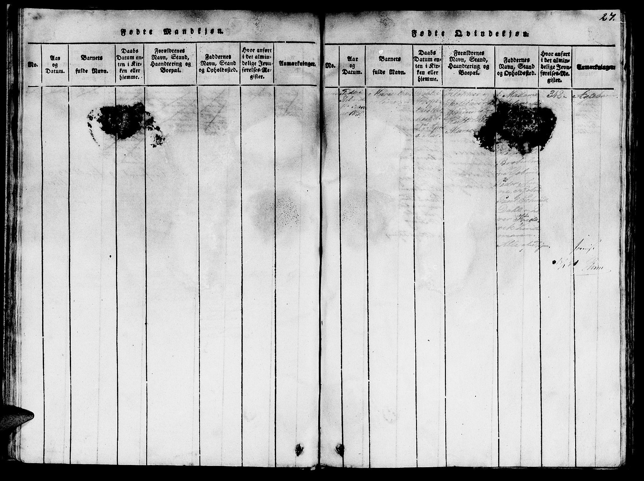 SAT, Ministerialprotokoller, klokkerbøker og fødselsregistre - Sør-Trøndelag, 623/L0478: Klokkerbok nr. 623C01, 1815-1873, s. 27