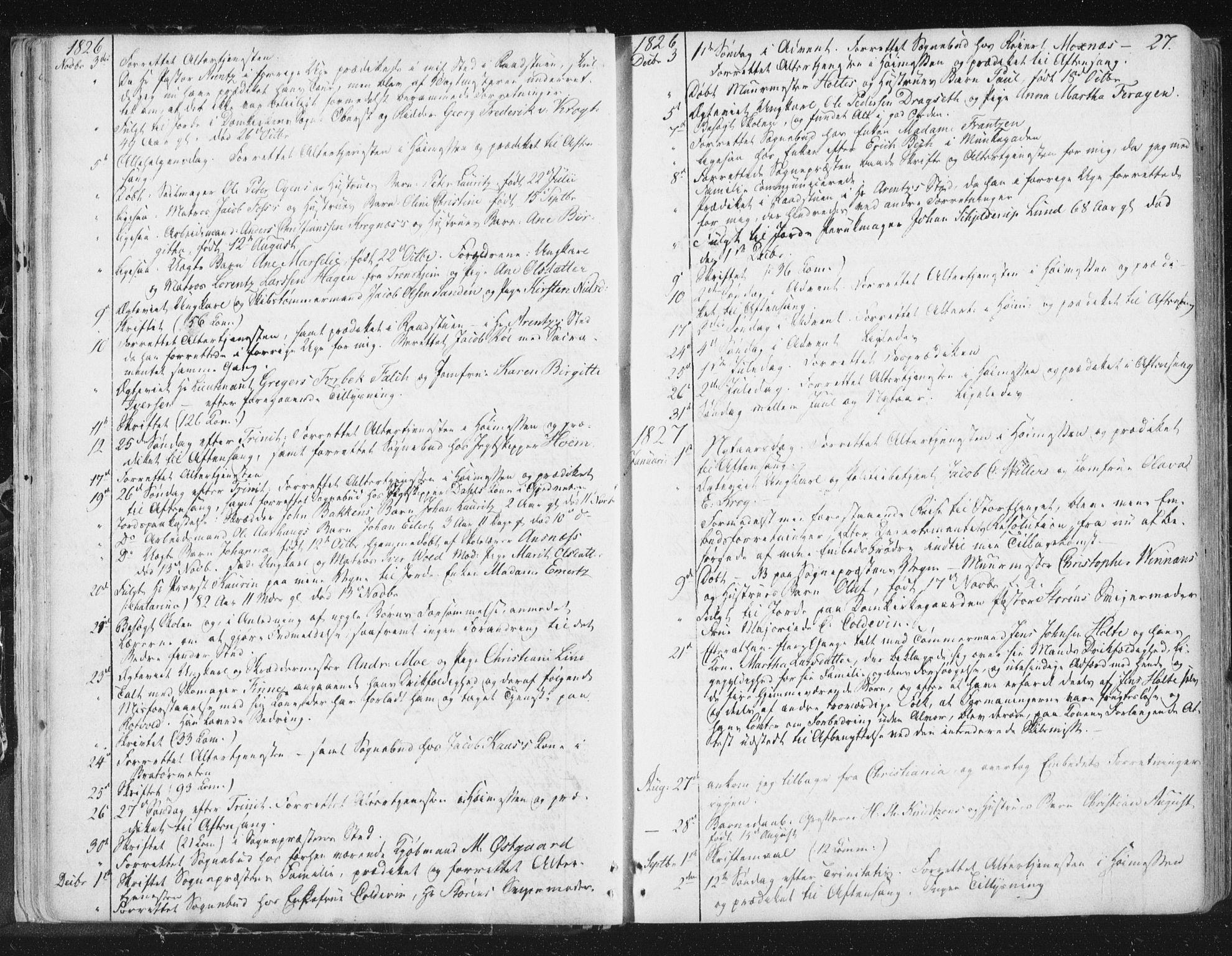 SAT, Ministerialprotokoller, klokkerbøker og fødselsregistre - Sør-Trøndelag, 602/L0127: Residerende kapellans bok nr. 602B01, 1821-1875, s. 27