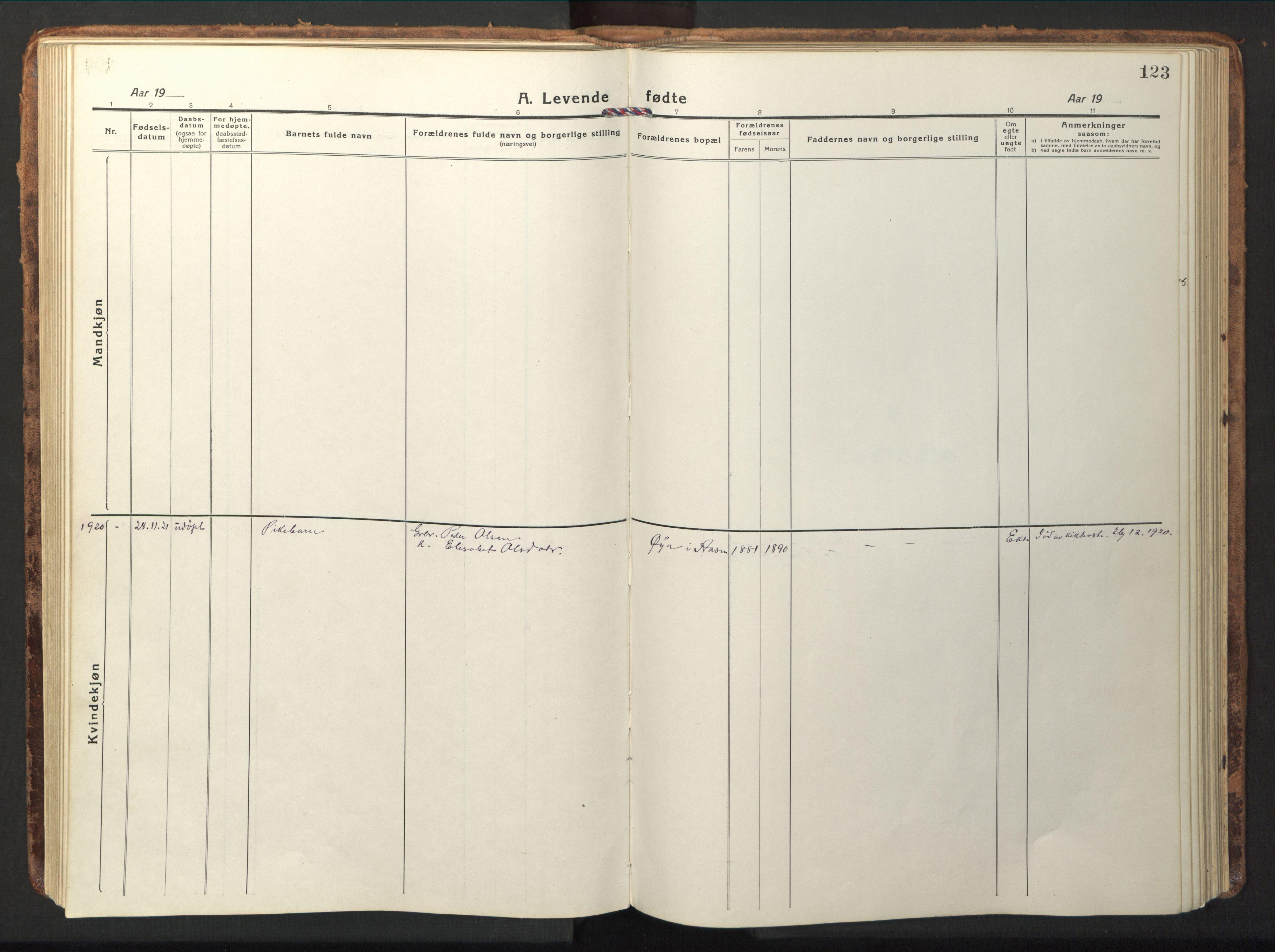 SAT, Ministerialprotokoller, klokkerbøker og fødselsregistre - Nord-Trøndelag, 714/L0136: Klokkerbok nr. 714C05, 1918-1957, s. 123
