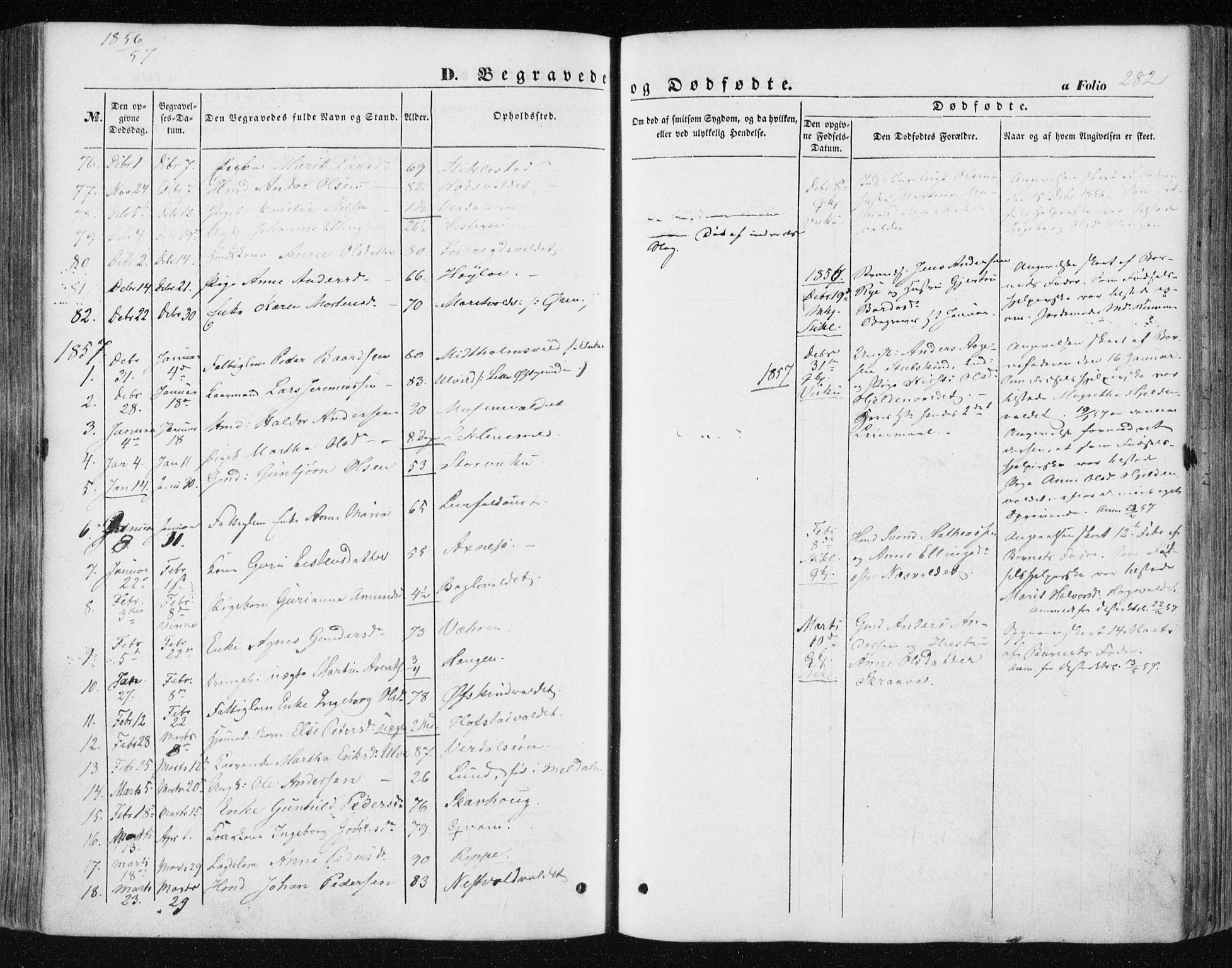 SAT, Ministerialprotokoller, klokkerbøker og fødselsregistre - Nord-Trøndelag, 723/L0240: Ministerialbok nr. 723A09, 1852-1860, s. 282