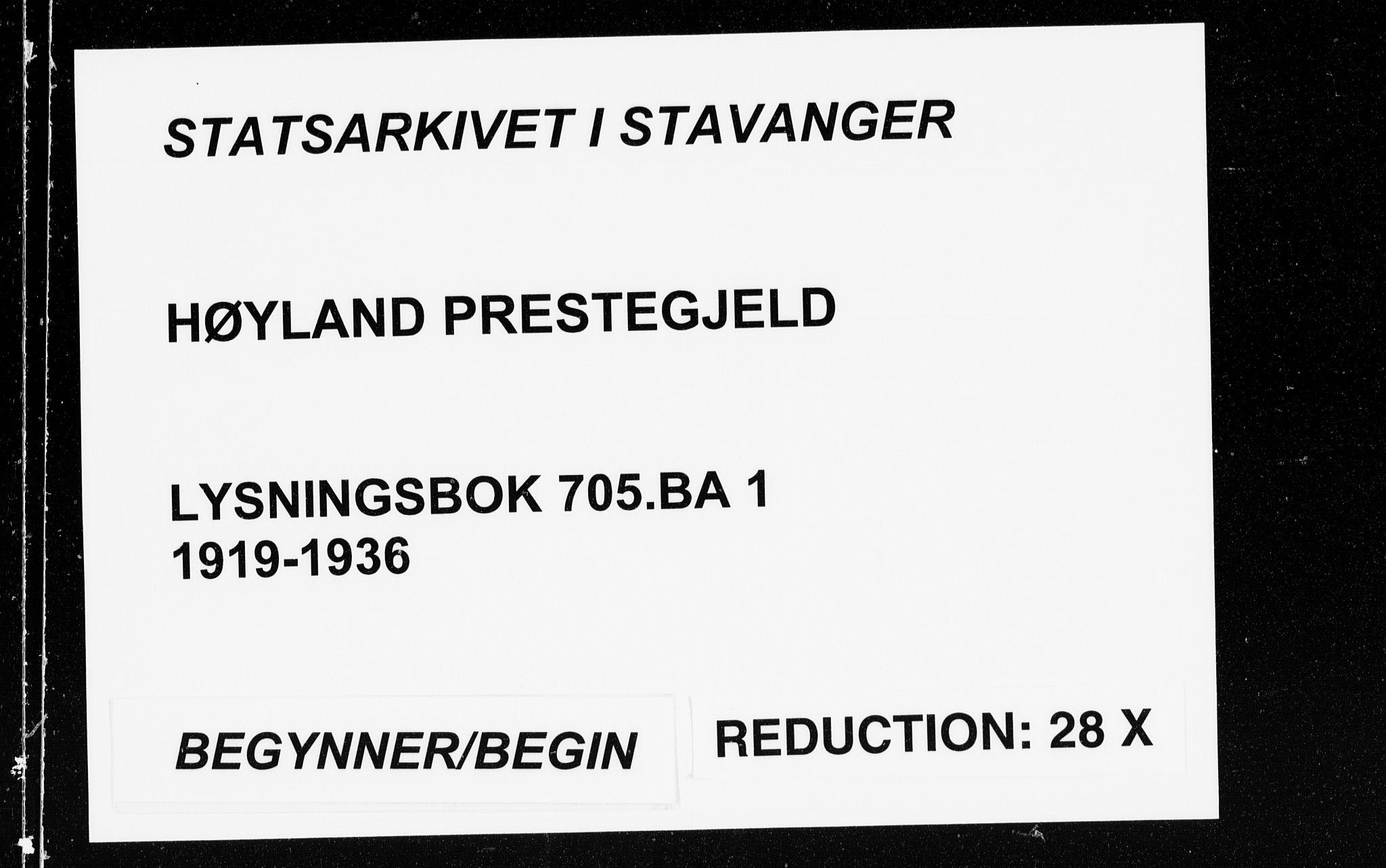 SAST, Høyland sokneprestkontor, 705BA/L0001: Lysningsprotokoll nr. 705.BA.1, 1919-1936
