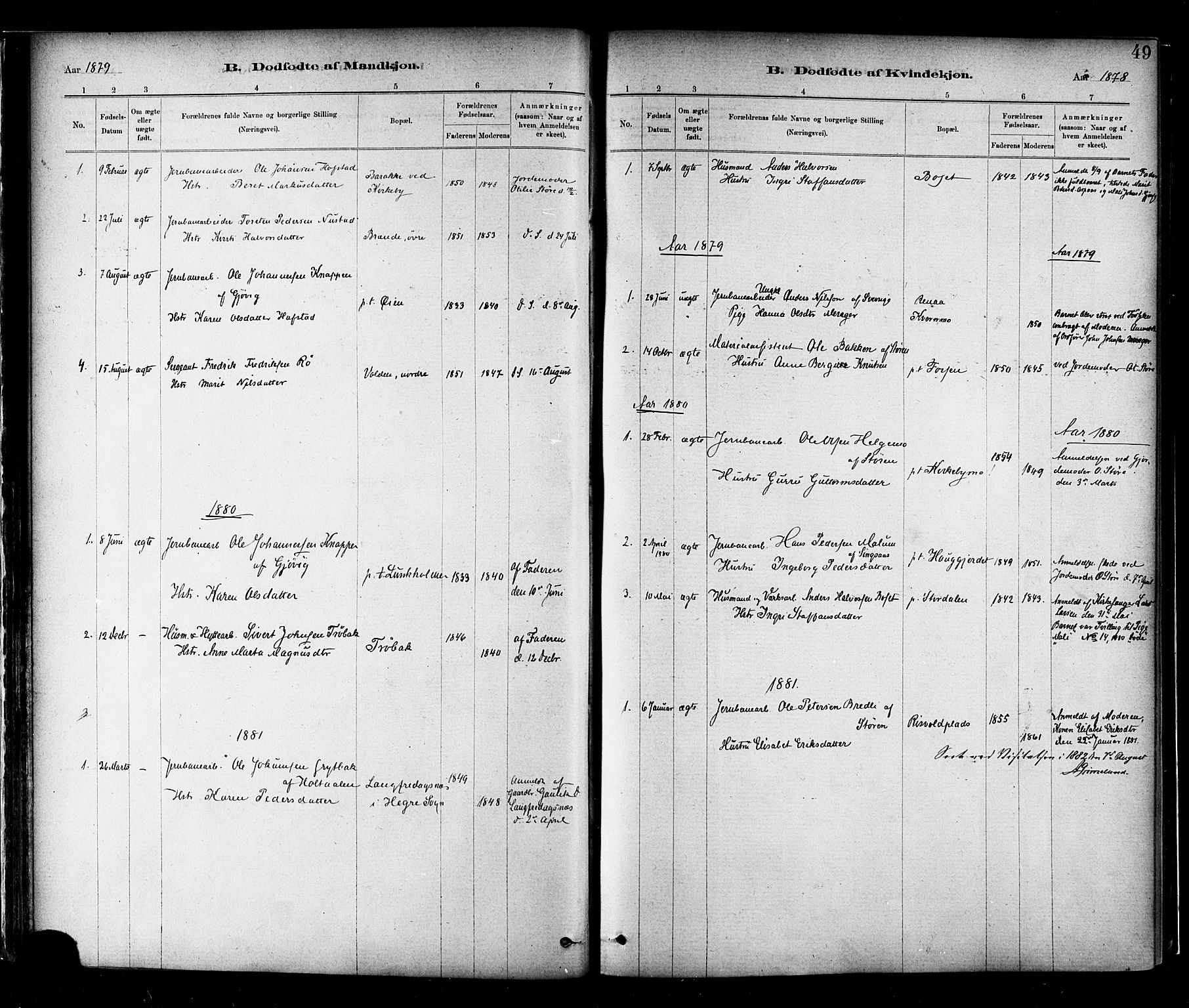 SAT, Ministerialprotokoller, klokkerbøker og fødselsregistre - Nord-Trøndelag, 706/L0047: Ministerialbok nr. 706A03, 1878-1892, s. 49
