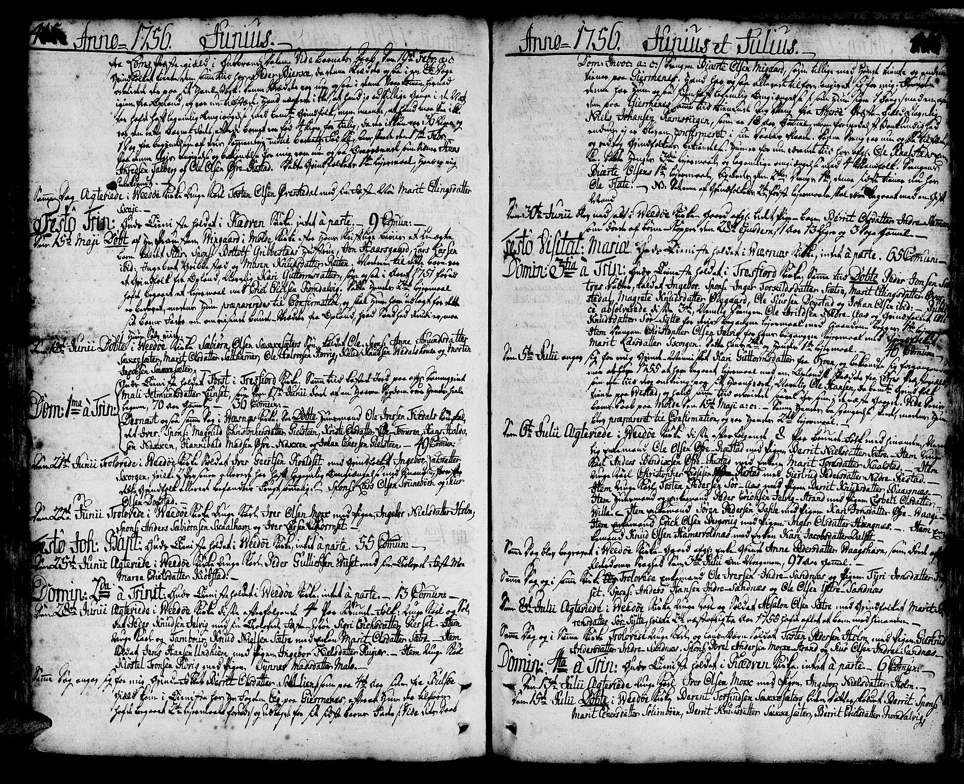 SAT, Ministerialprotokoller, klokkerbøker og fødselsregistre - Møre og Romsdal, 547/L0599: Ministerialbok nr. 547A01, 1721-1764, s. 415-416
