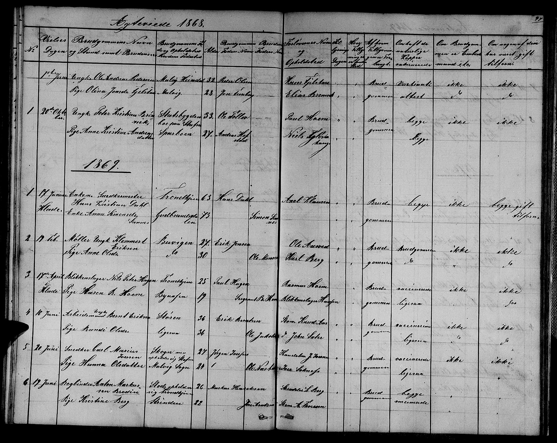 SAT, Ministerialprotokoller, klokkerbøker og fødselsregistre - Sør-Trøndelag, 611/L0353: Klokkerbok nr. 611C01, 1854-1881, s. 97