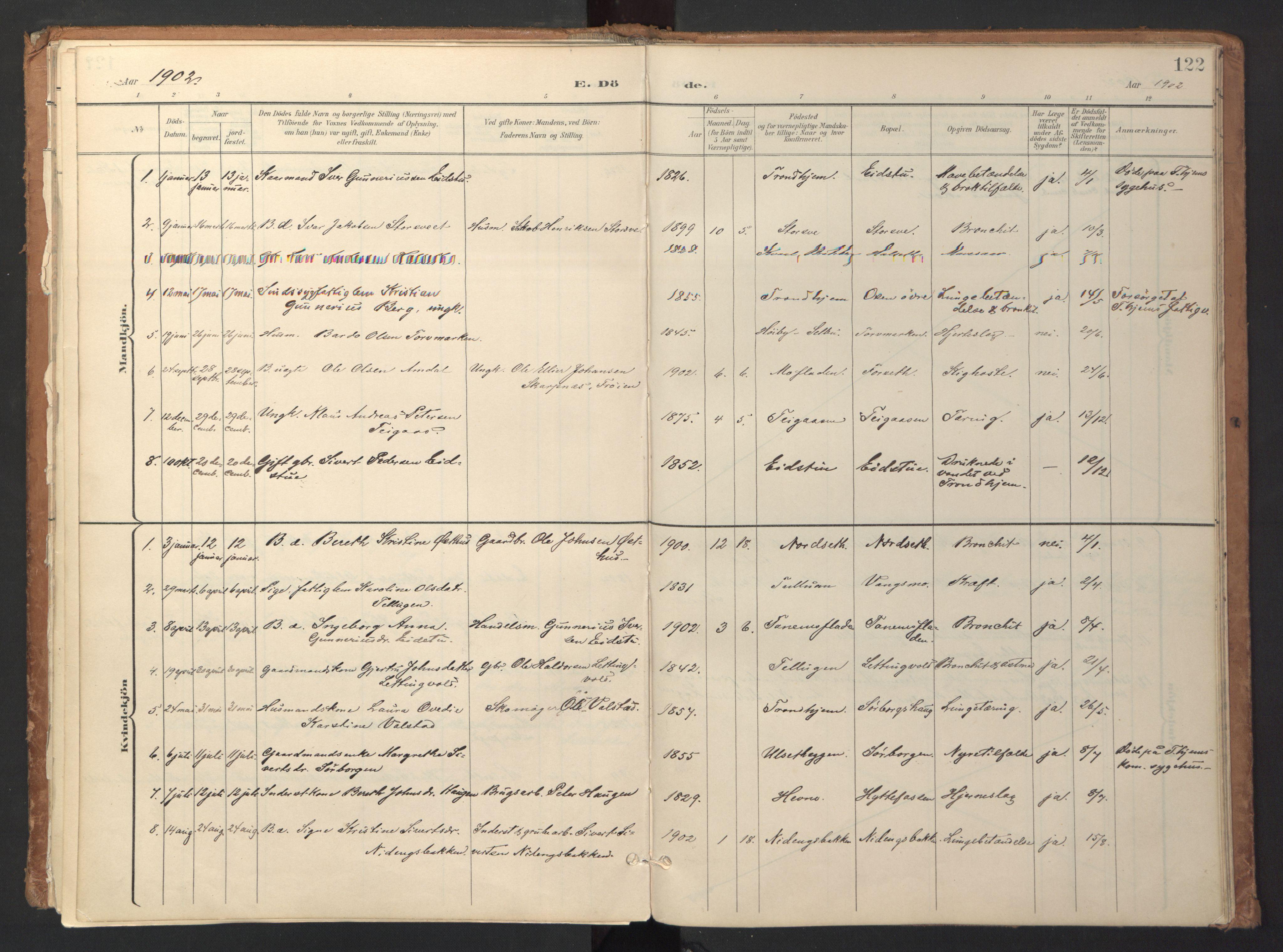 SAT, Ministerialprotokoller, klokkerbøker og fødselsregistre - Sør-Trøndelag, 618/L0448: Ministerialbok nr. 618A11, 1898-1916, s. 122