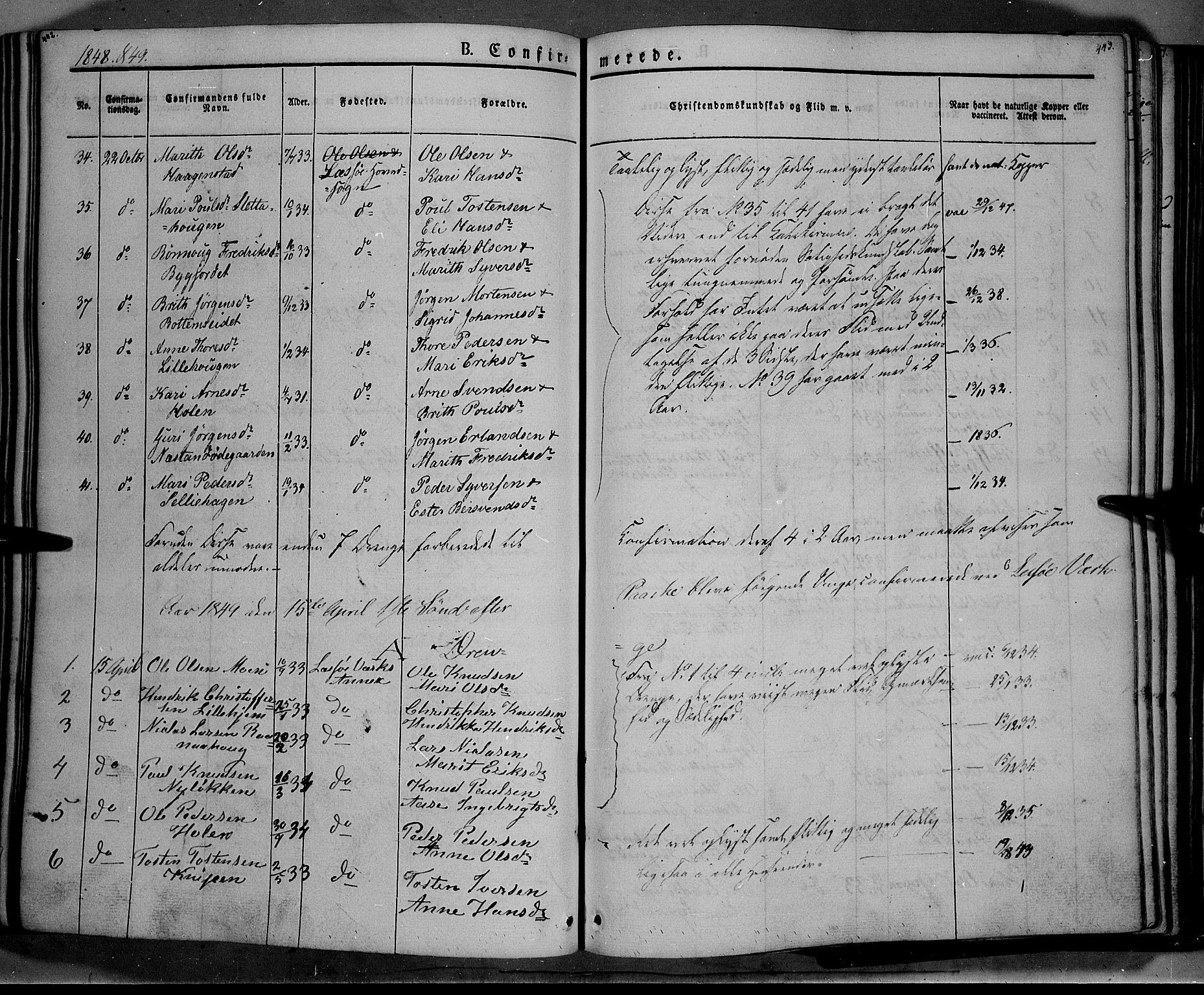 SAH, Lesja prestekontor, Ministerialbok nr. 6A, 1843-1854, s. 442-443