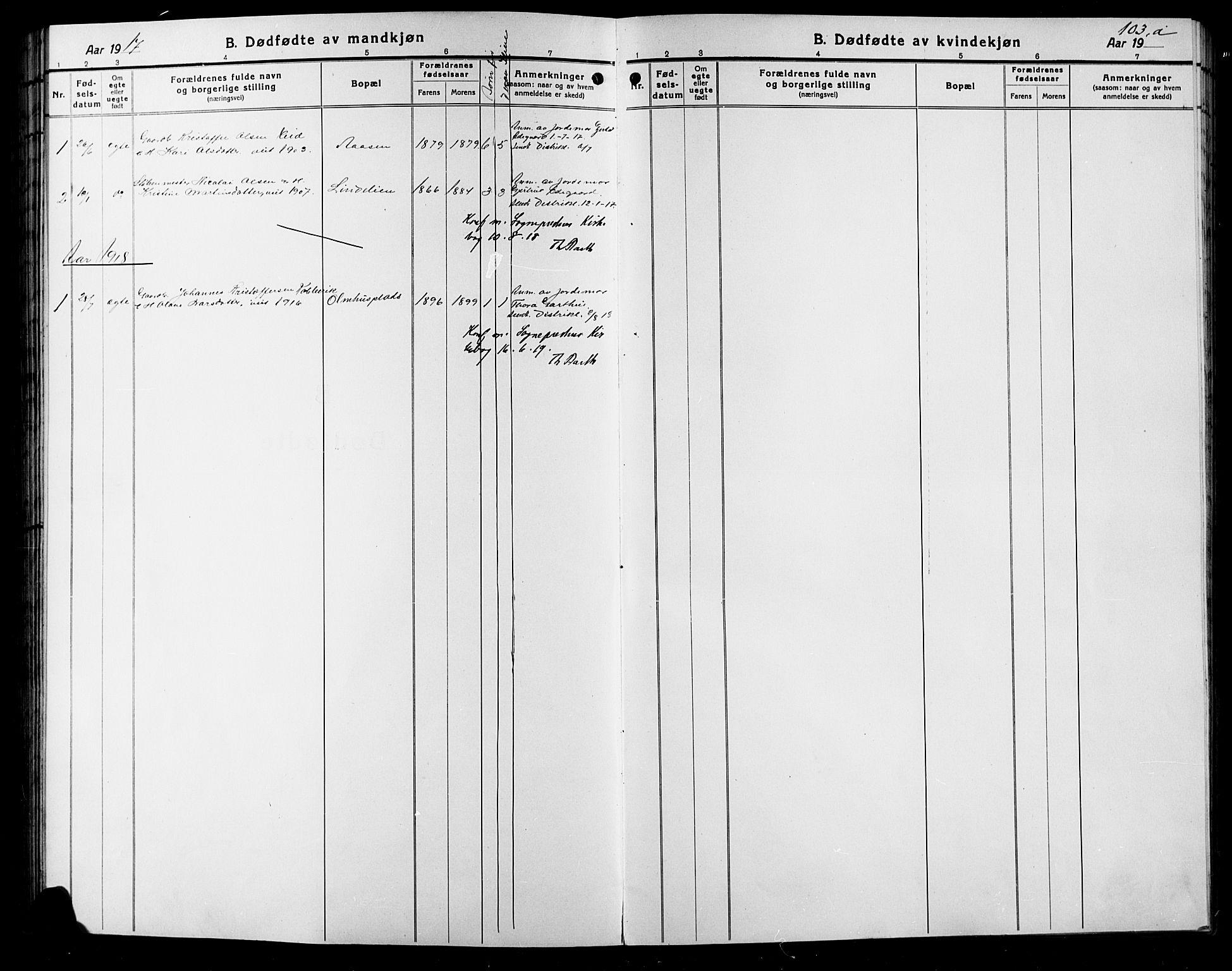 SAH, Sør-Aurdal prestekontor, Klokkerbok nr. 9, 1894-1924, s. 103b