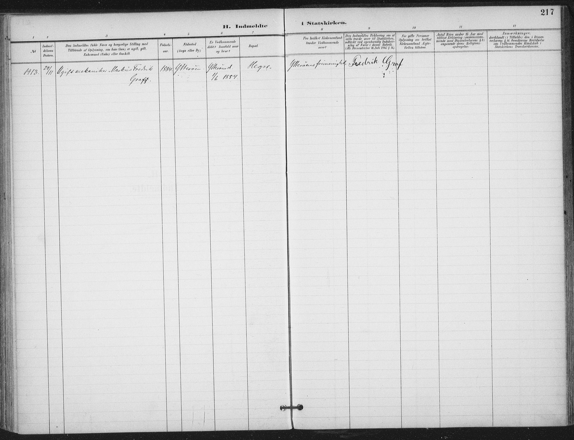 SAT, Ministerialprotokoller, klokkerbøker og fødselsregistre - Nord-Trøndelag, 703/L0031: Ministerialbok nr. 703A04, 1893-1914, s. 217