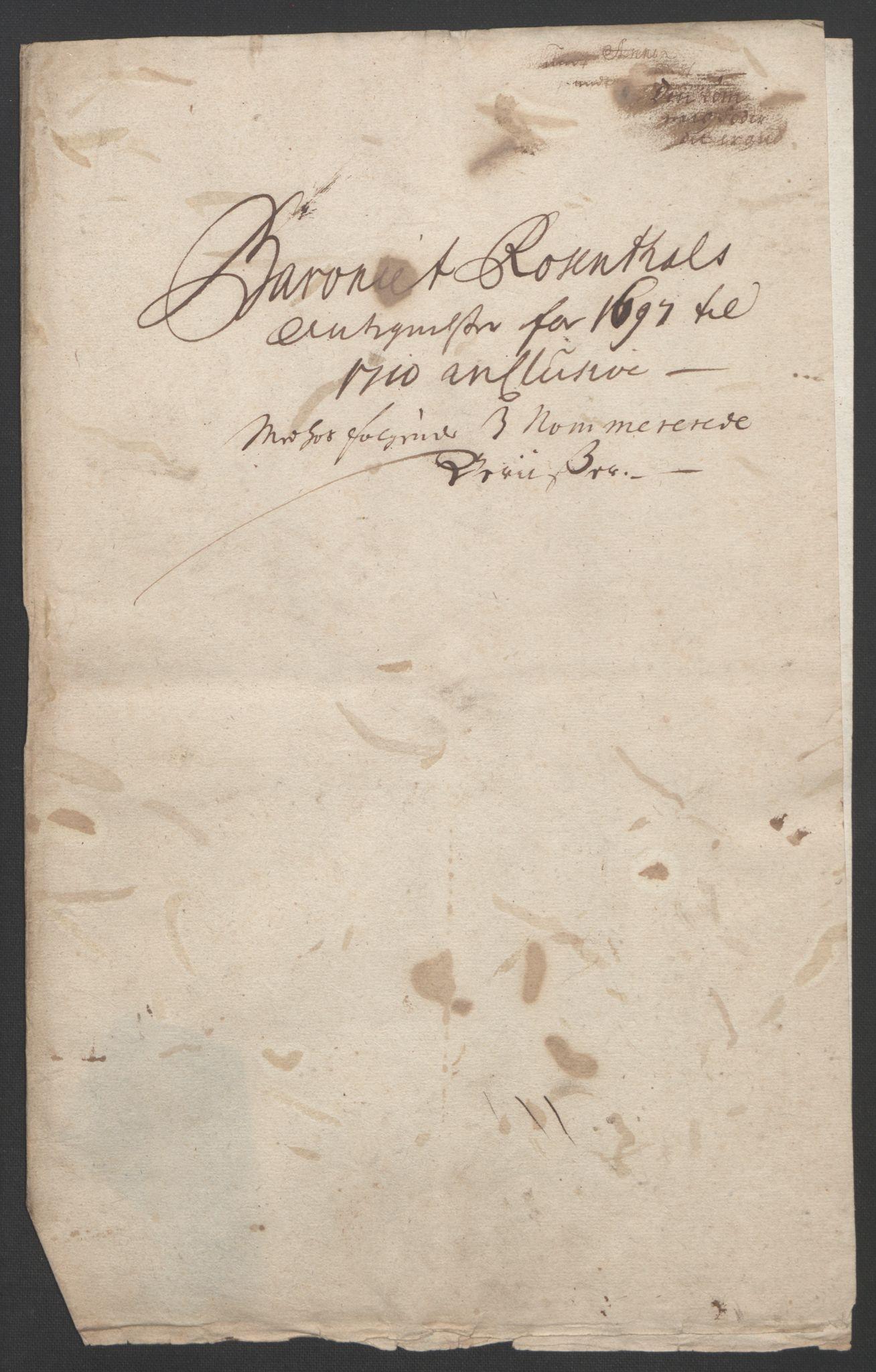 RA, Rentekammeret inntil 1814, Reviderte regnskaper, Fogderegnskap, R49/L3138: Fogderegnskap Rosendal Baroni, 1691-1714, s. 252