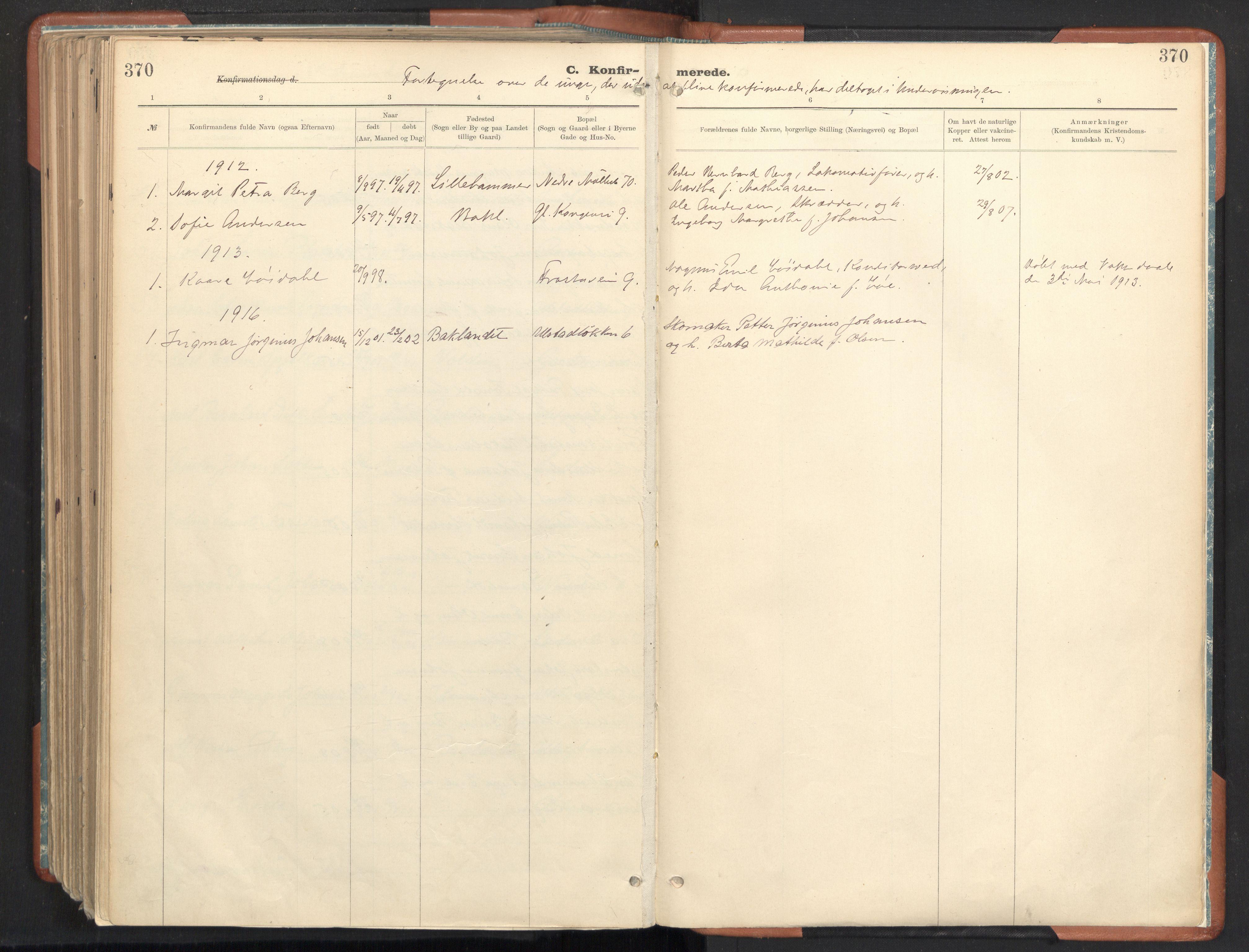 SAT, Ministerialprotokoller, klokkerbøker og fødselsregistre - Sør-Trøndelag, 605/L0243: Ministerialbok nr. 605A05, 1908-1923, s. 370
