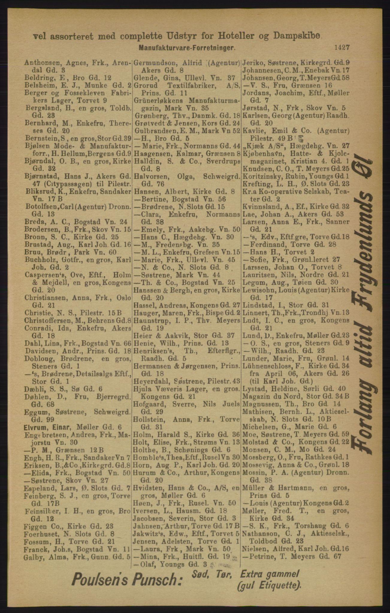 RA, Kristiania adressebok (publikasjon)*, 1906, s. 1427