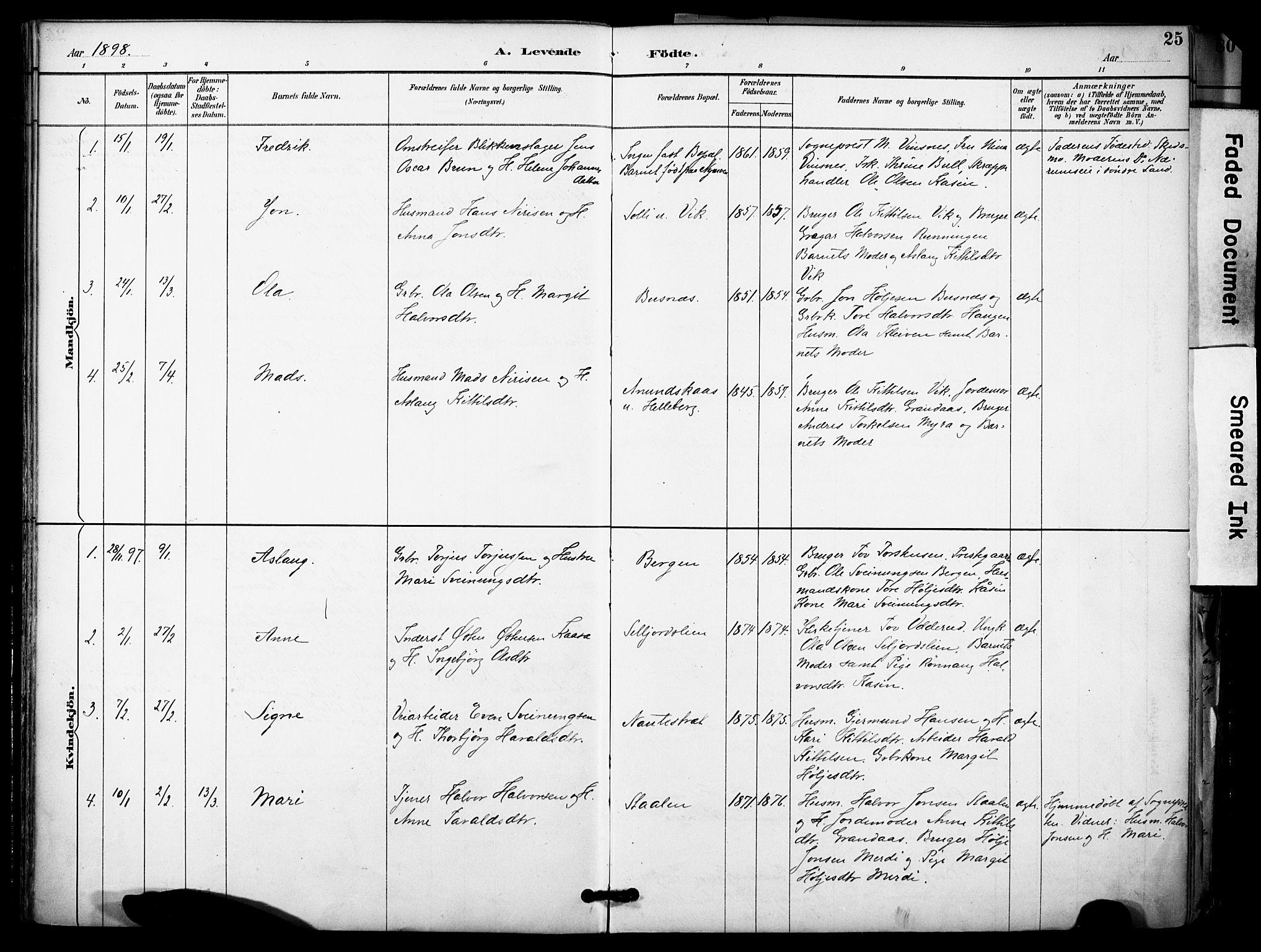 SAKO, Gransherad kirkebøker, F/Fa/L0005: Ministerialbok nr. I 5, 1887-1916, s. 25