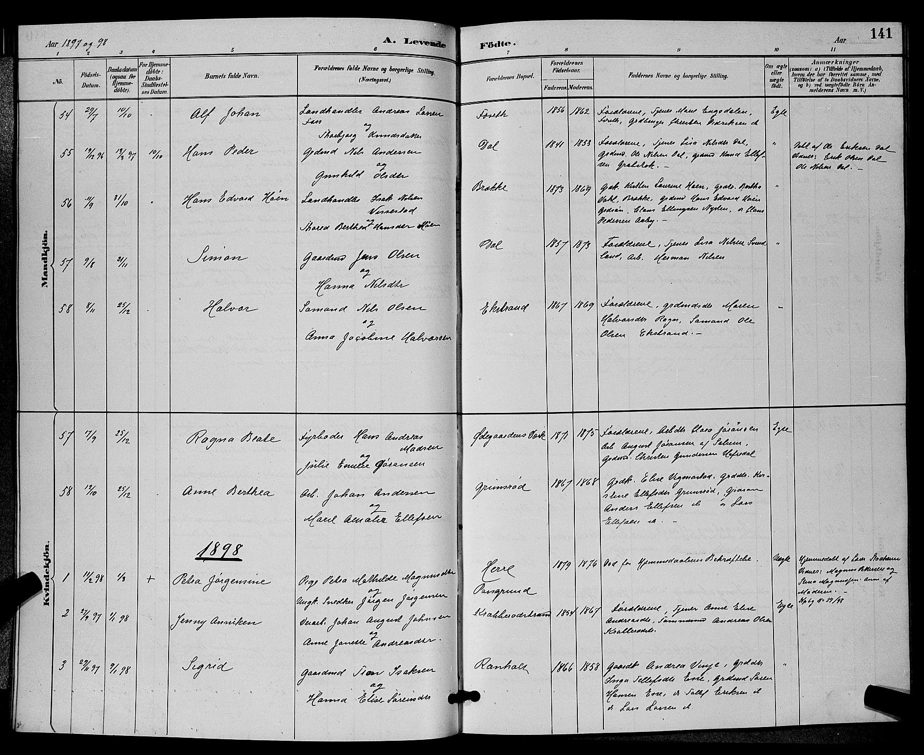 SAKO, Bamble kirkebøker, G/Ga/L0009: Klokkerbok nr. I 9, 1888-1900, s. 141