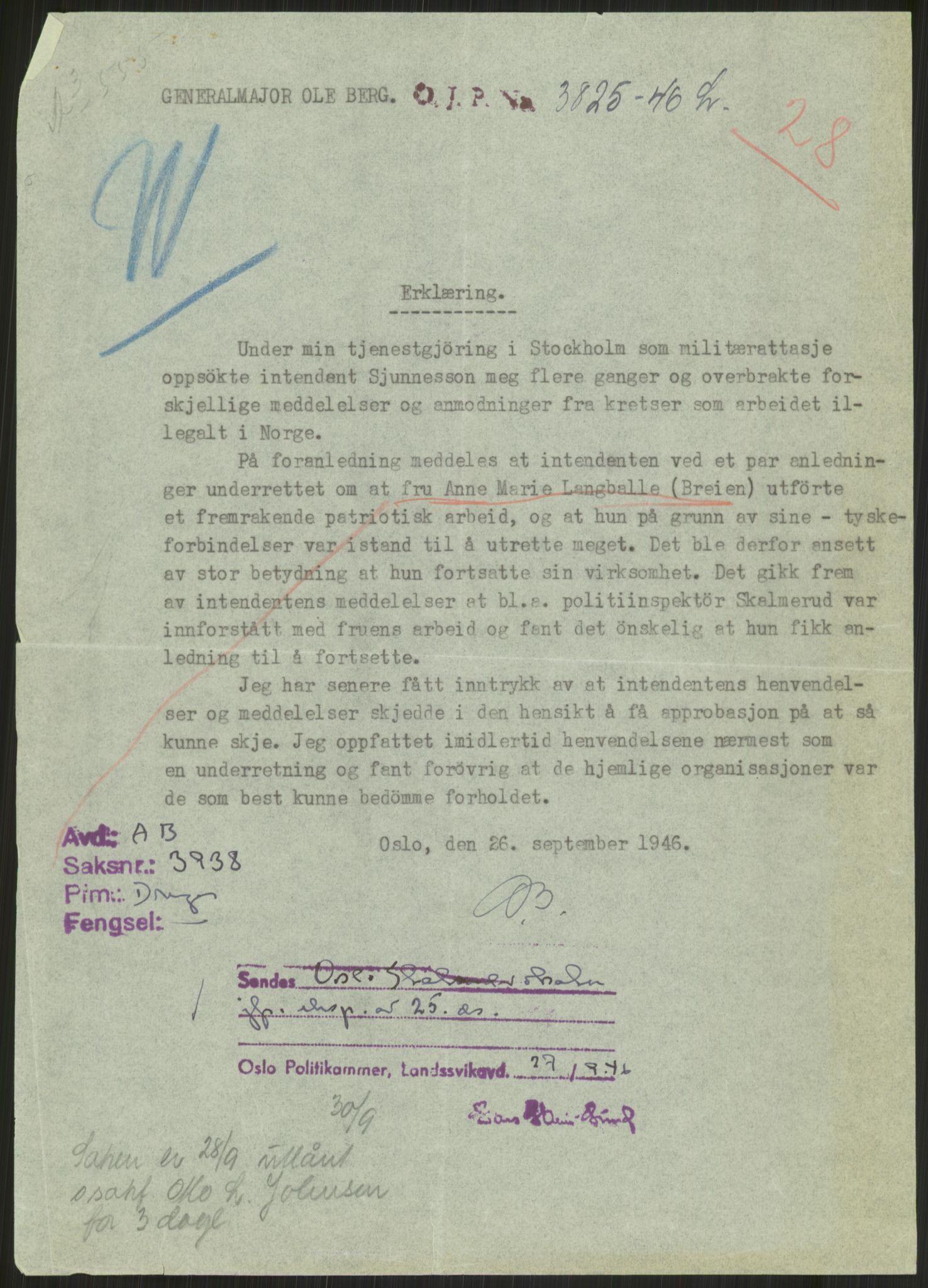 RA, Landssvikarkivet, Oslo politikammer, D/Dg/L0267: Henlagt hnr. 3658, 1945-1946, s. 298